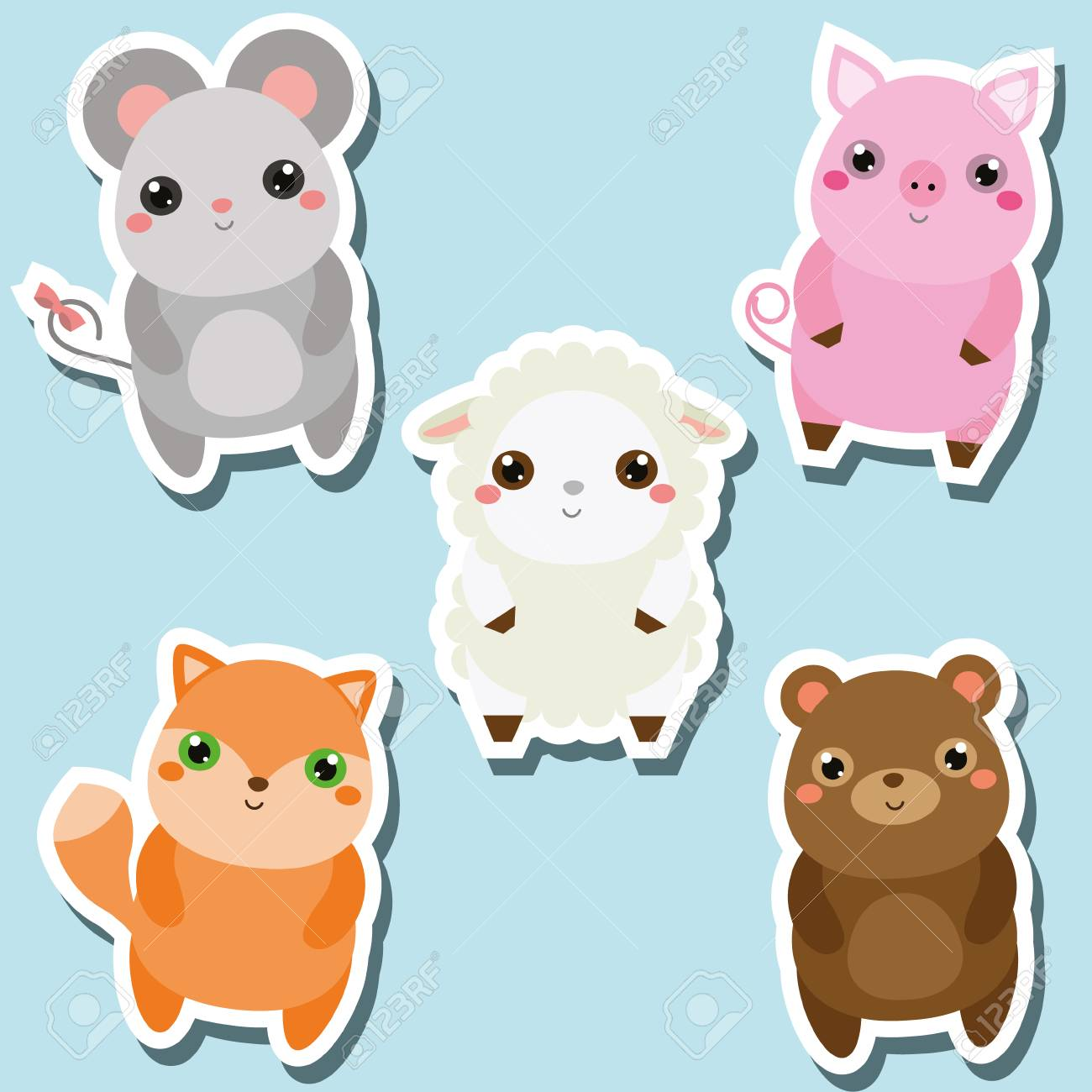 Image of: Png Cute Kawaii Animals Stickers Set Vector Illustration Mouse Pig Sheep Fox 123rfcom Cute Kawaii Animals Stickers Set Vector Illustration Mouse