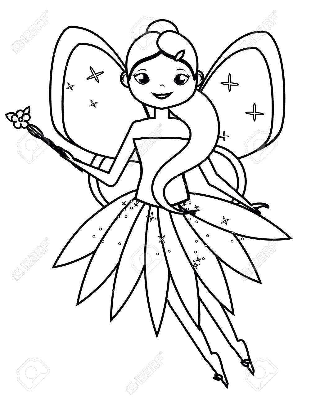 Página Para Colorear Con Linda Hada Voladora Con Varita Mágica De Flor Colorea La Imagen Juego Educativo Para Niños Dibujo De Actividad Infantil