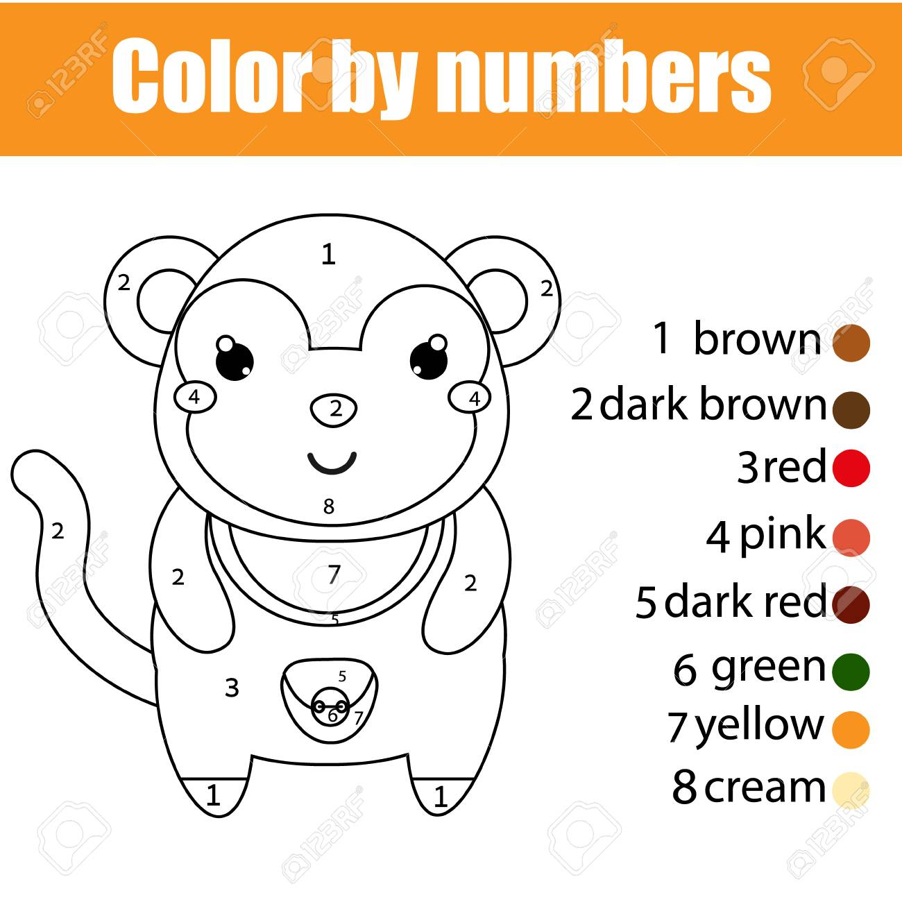Vettoriale Pagina Da Colorare Con Scimmia Colore Per Numero Gioco