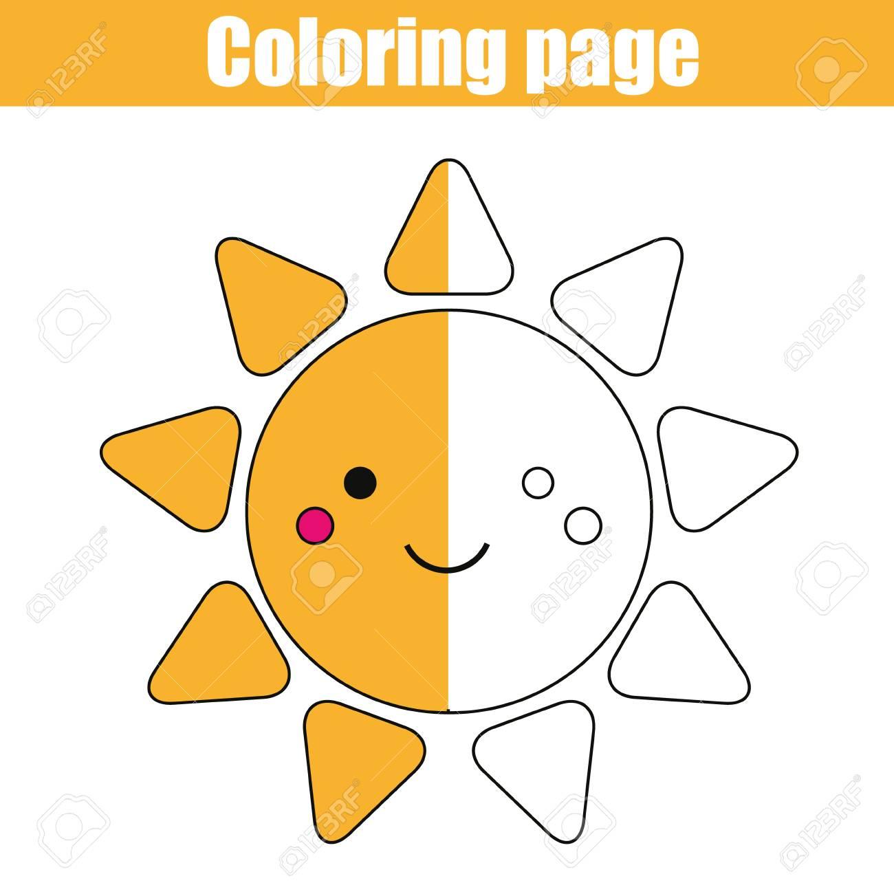 Página Para Colorear Con Lindo Personaje De Sol Sonriente Colorea La Actividad De Dibujo De La Imagen Juego Educativo Para Niños De Edad