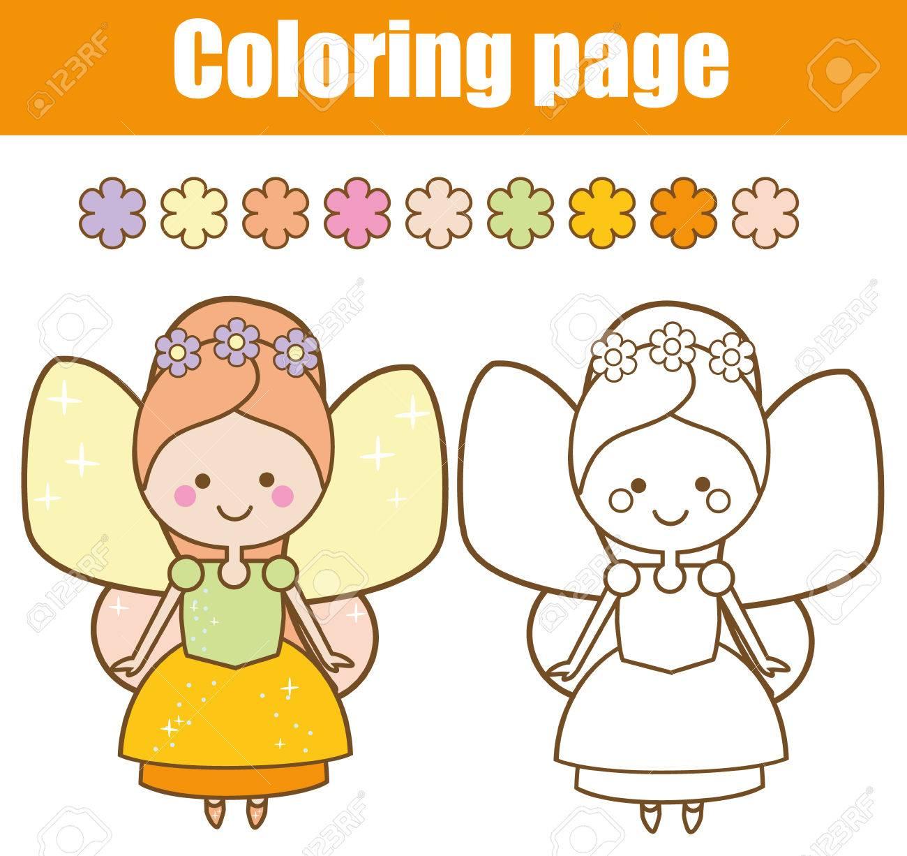 Página Para Colorear Con Linda Hada Con Alas En Estilo Kawaii Colorea La Imagen Juego Educativo Para Niños Dibujo De Actividad Infantil Hoja