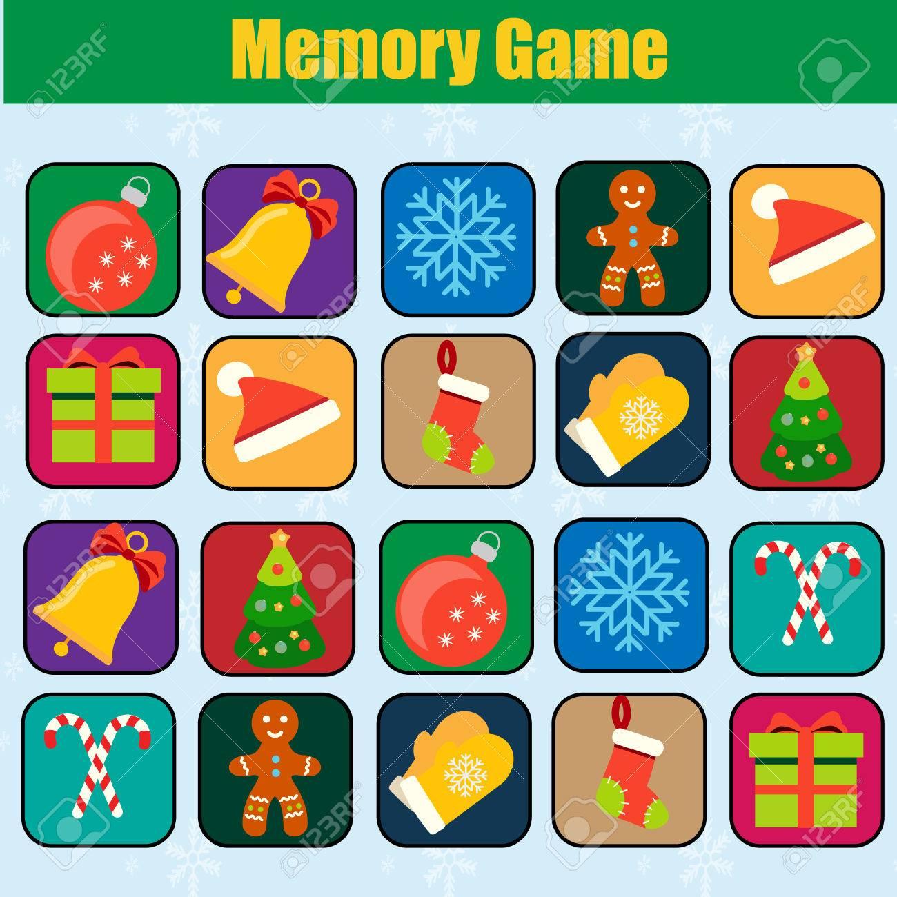 Juego De Memoria Navidad Ano Nuevo Tema De Vacaciones De Invierno