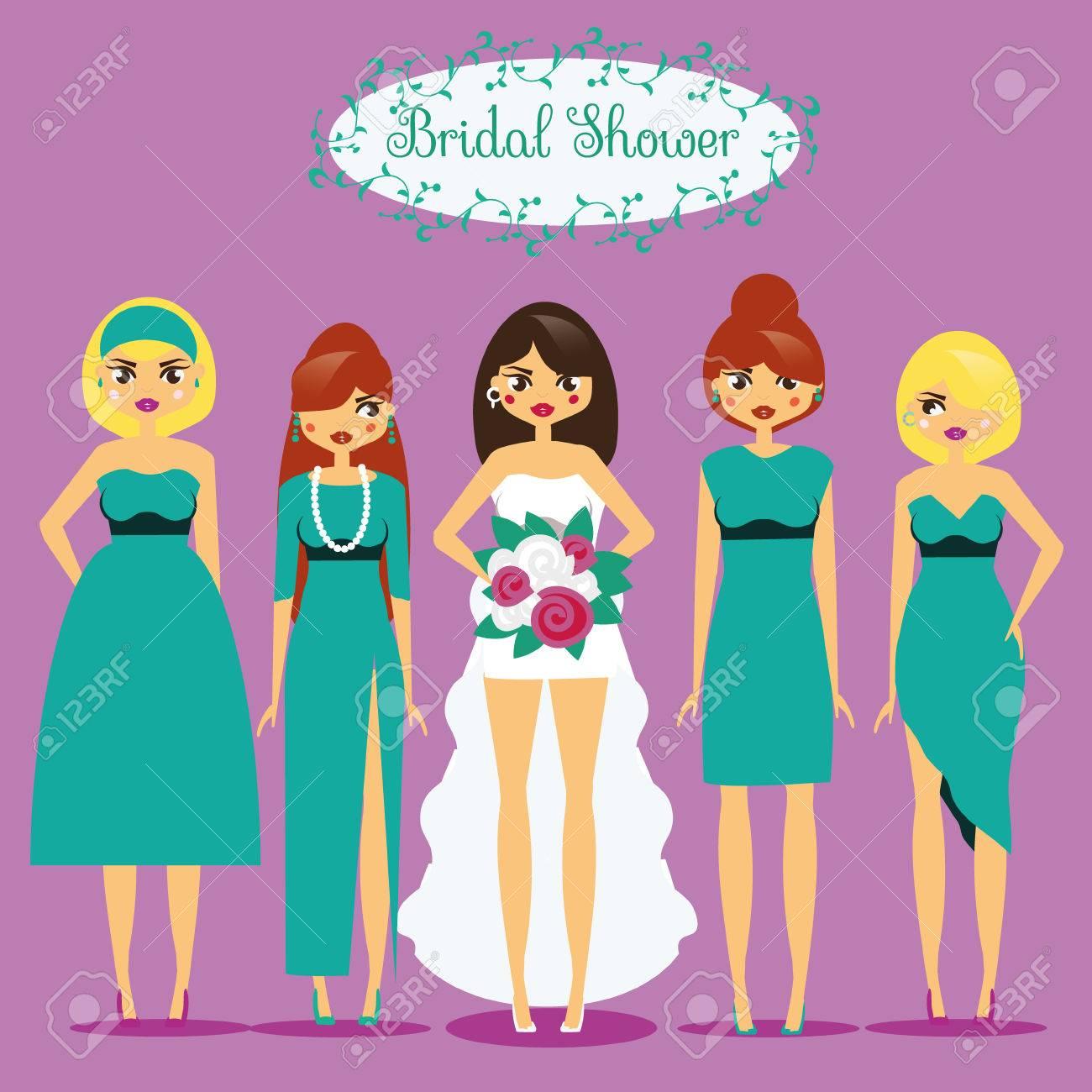 Novia Con Damas De Honor. Mujer En Vestidos De Moda. Ducha Nupcial ...