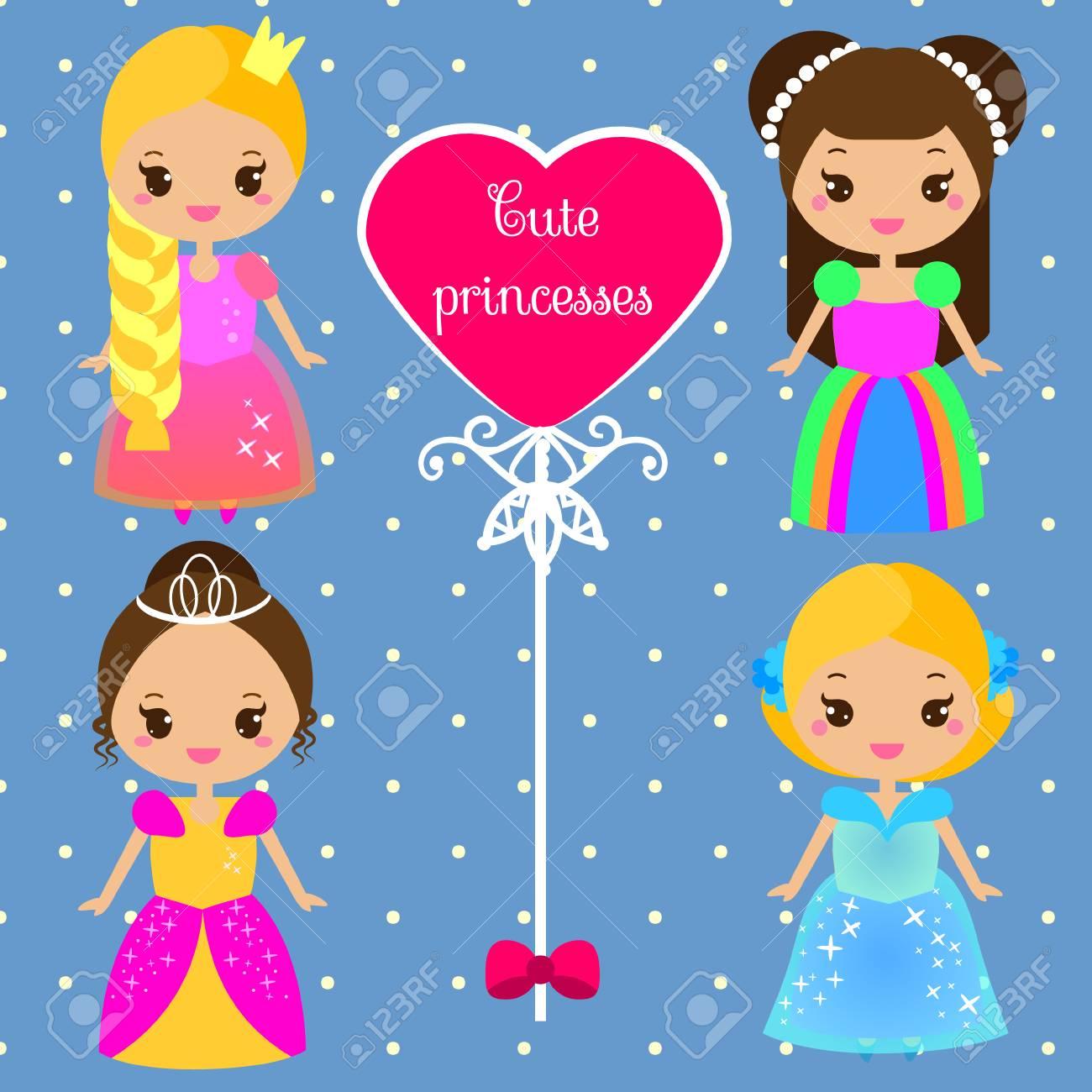 Princesses Mignonnes Dans Des Robes Colorées Dans Le Style Kawaii Filles En Costumes De Reine Collection De Vecteur De Personnages Féminins De