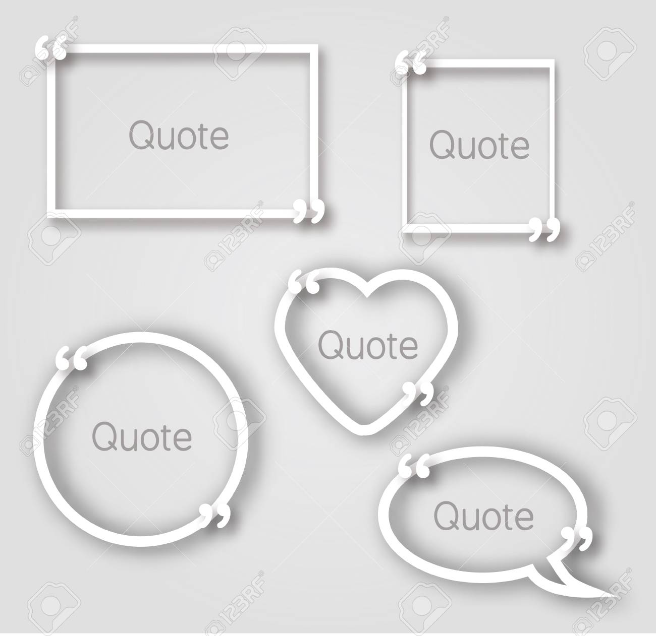white quote bubble paper frames in realistic style paper frame