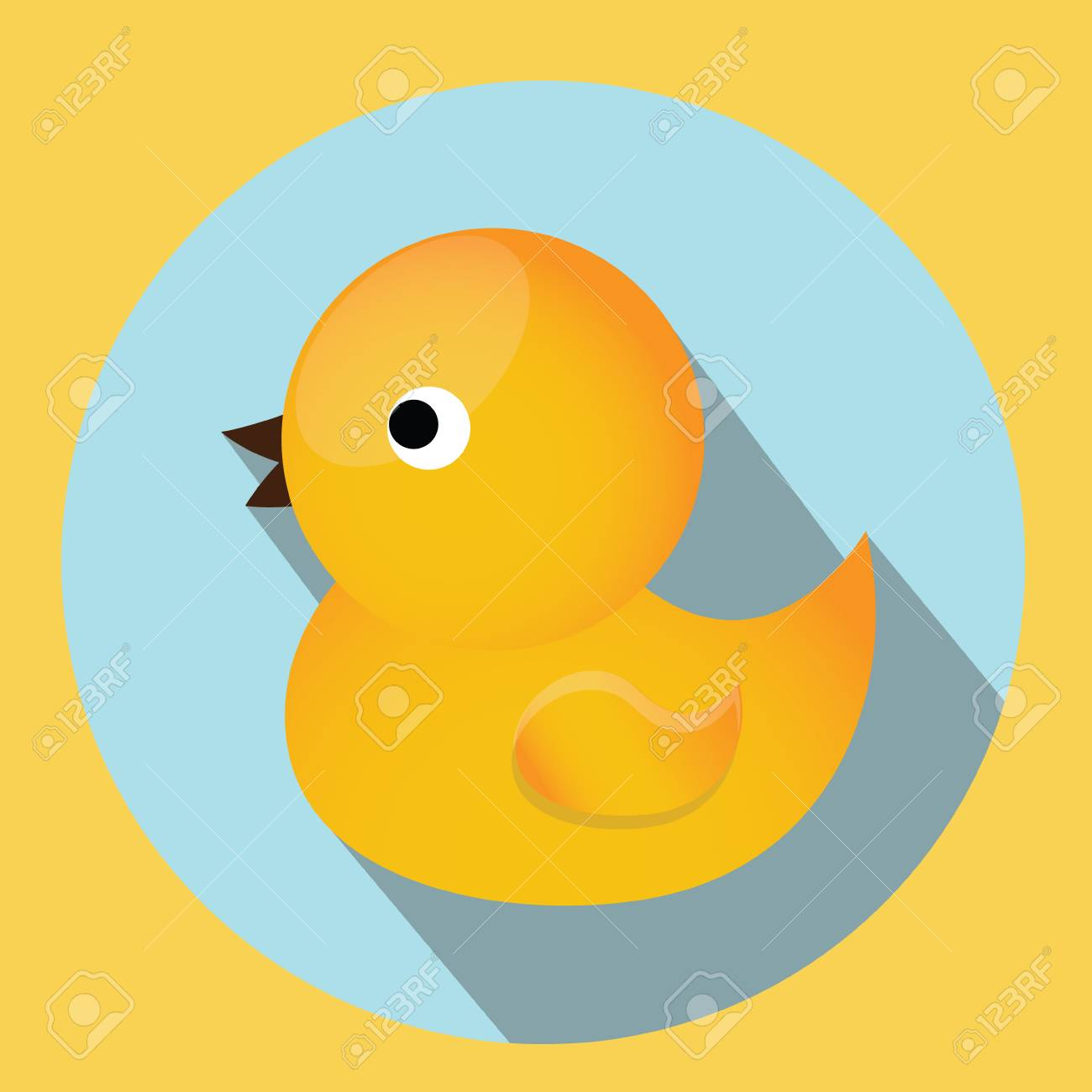 Baby, Kids Toy. Classic Yellow Rubber Duck For Bath. Vector Icon ...
