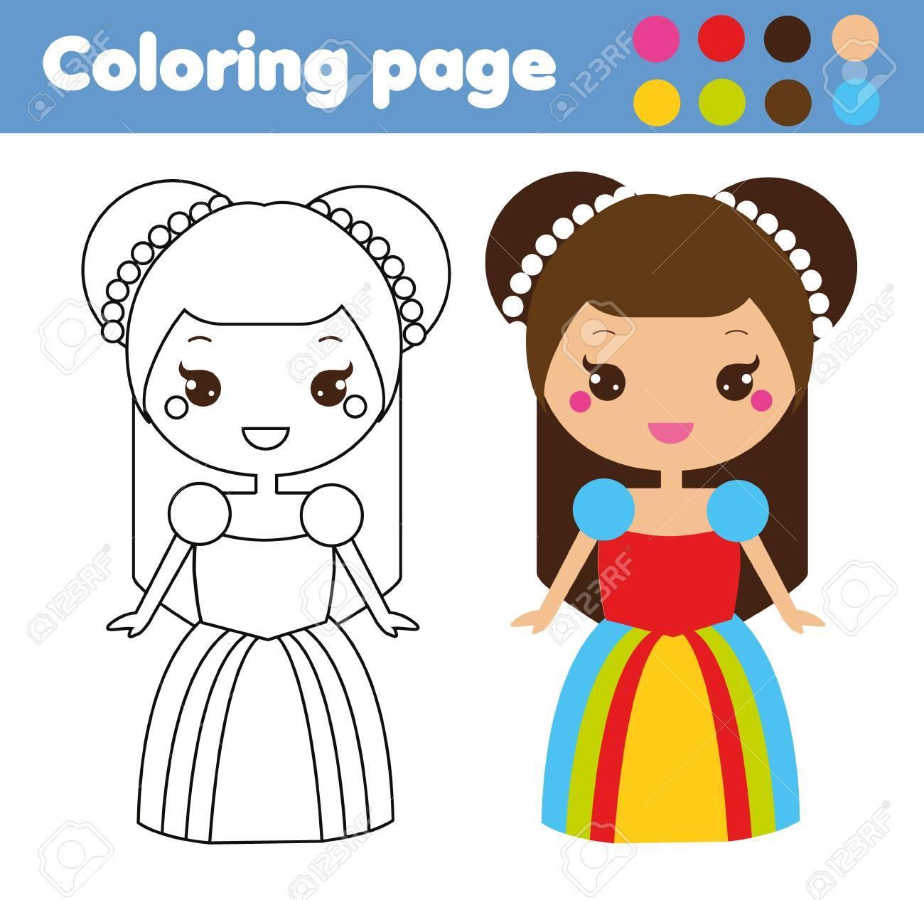 Página Para Colorear Con Linda Princesa En Estilo Kawaii Colorea La Imagen Juego Educativo Para Niños Dibujo De Actividad Infantil Hoja