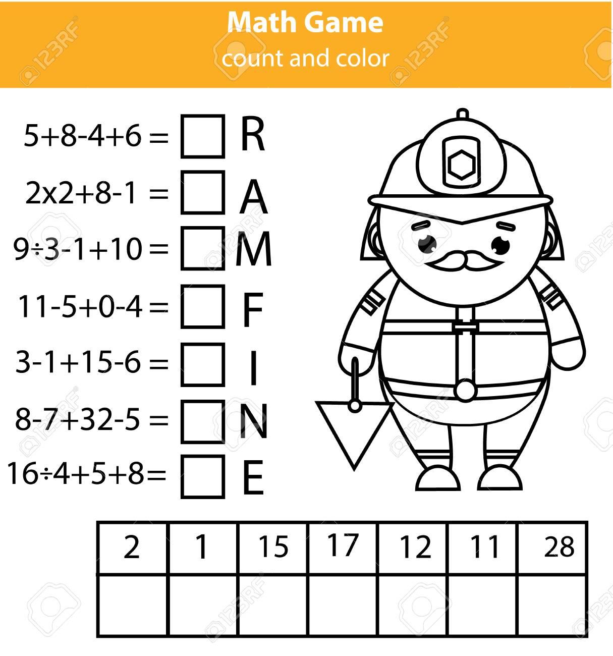 Wörter Puzzeln Kinderlernspiel Mit Mathematikgleichungen. Zählen Und ...