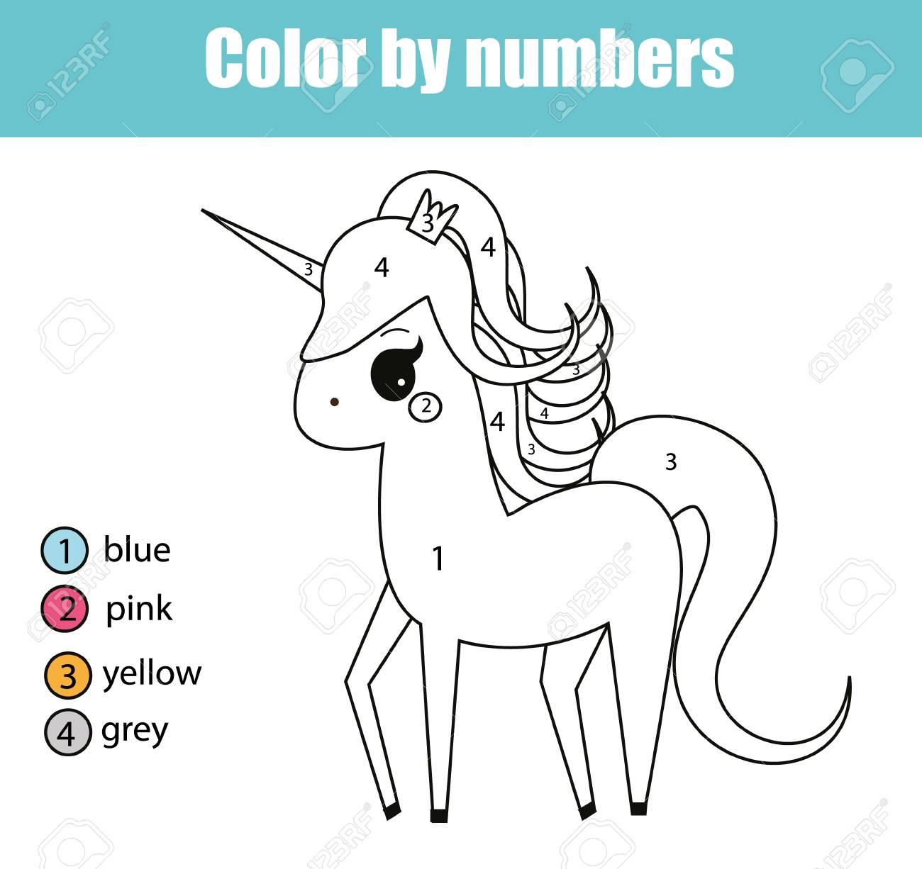 Coloring Page With Cute Unicorn Character Color By Numbers Educational Children Game Drawing Kids