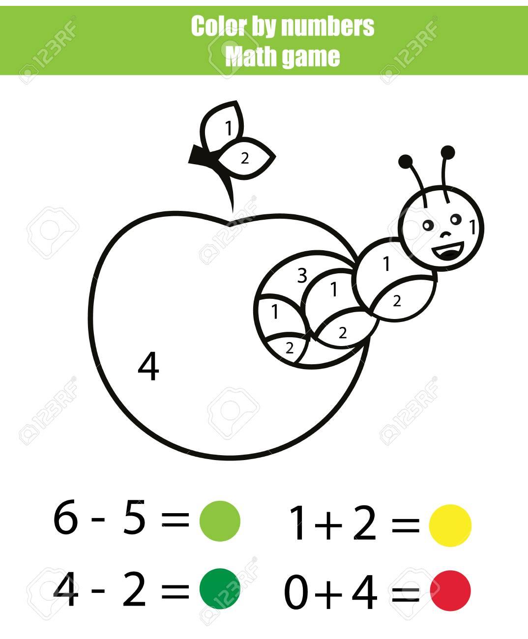 Color Por Numeros Juego De Matematicas Dibujo Para Colorear Con