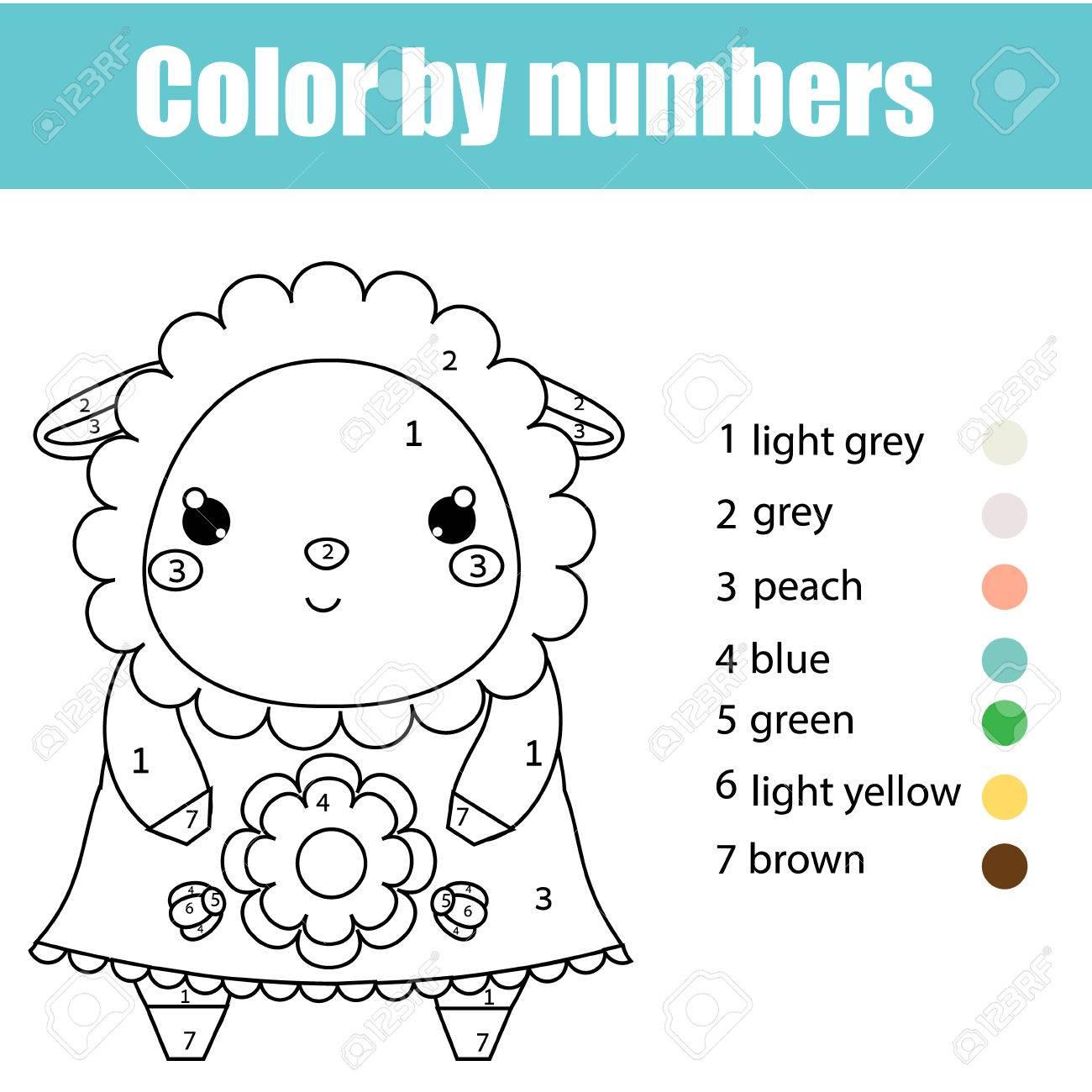 Página Para Colorear Con Linda Oveja Personaje De Cordero Color