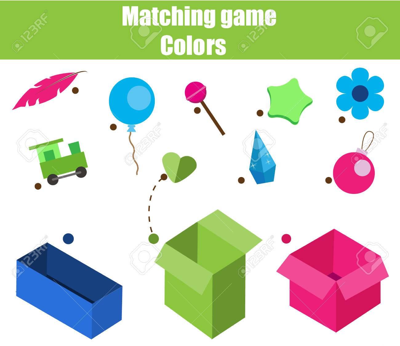 Pädagogisches Kinderspiel. Matching Spiel Arbeitsblatt Für Kinder ...