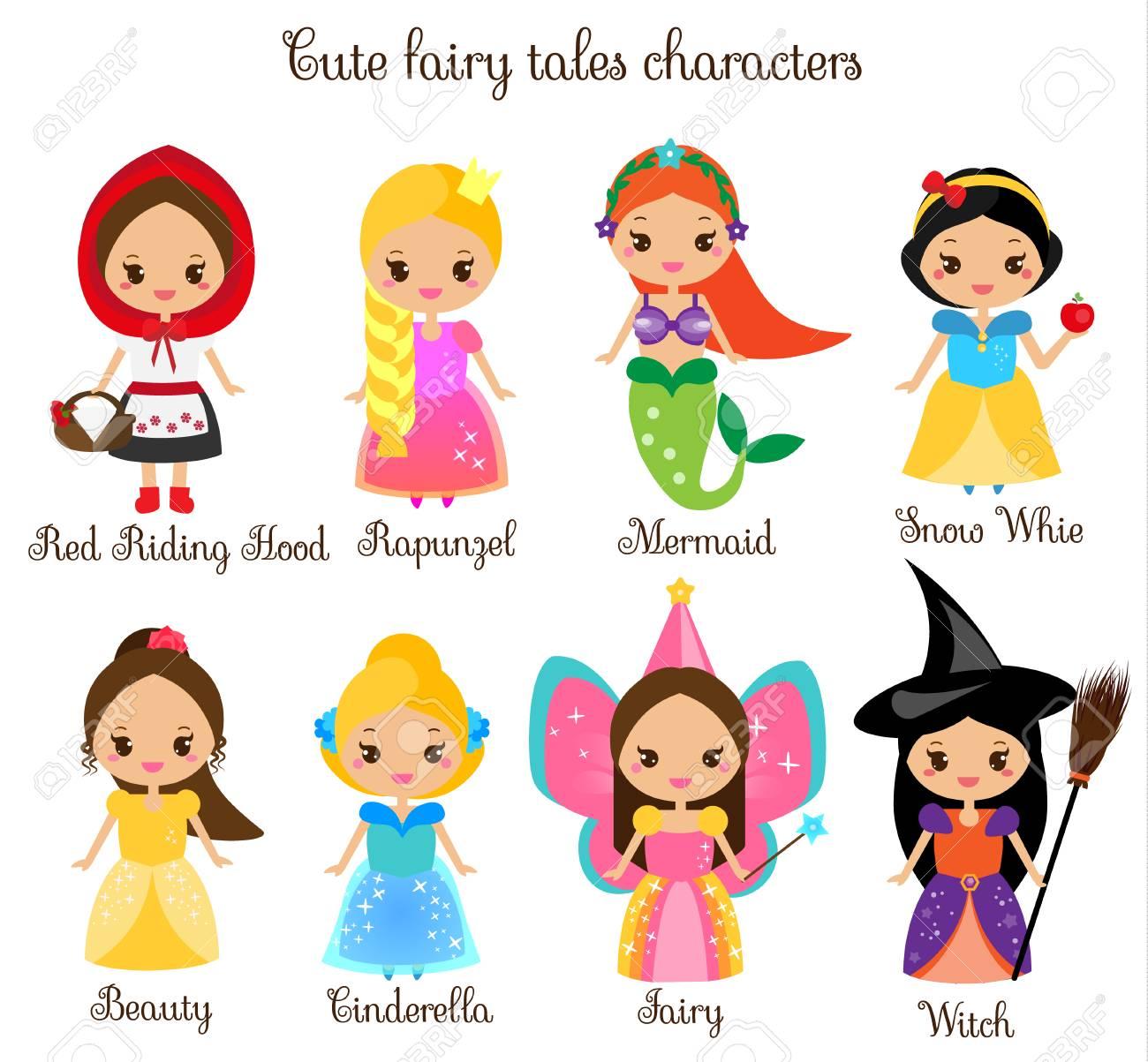 Personnages De Contes De Fées Kawaii Mignons Neige Blanche Chaperon Rouge Raiponce Cendrillon Princesse Dans De Belles Robes Style De Dessin