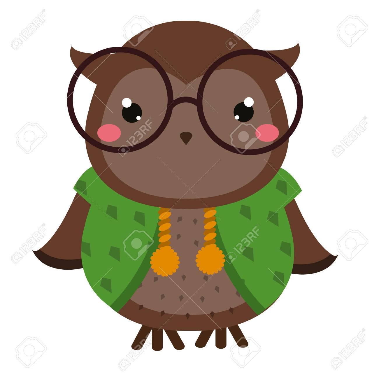 Cute owl in eyeglasses cartoon kawaii animal character vector cute owl in eyeglasses cartoon kawaii animal character vector illustration for kids and babies voltagebd Image collections