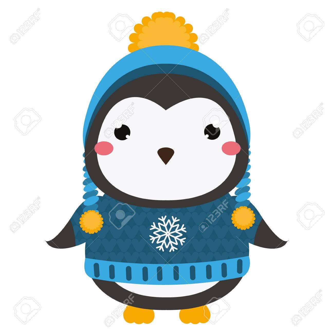 Lindo Pingüino En Suéter De Punto Y Sombrero De Invierno. Personaje ...