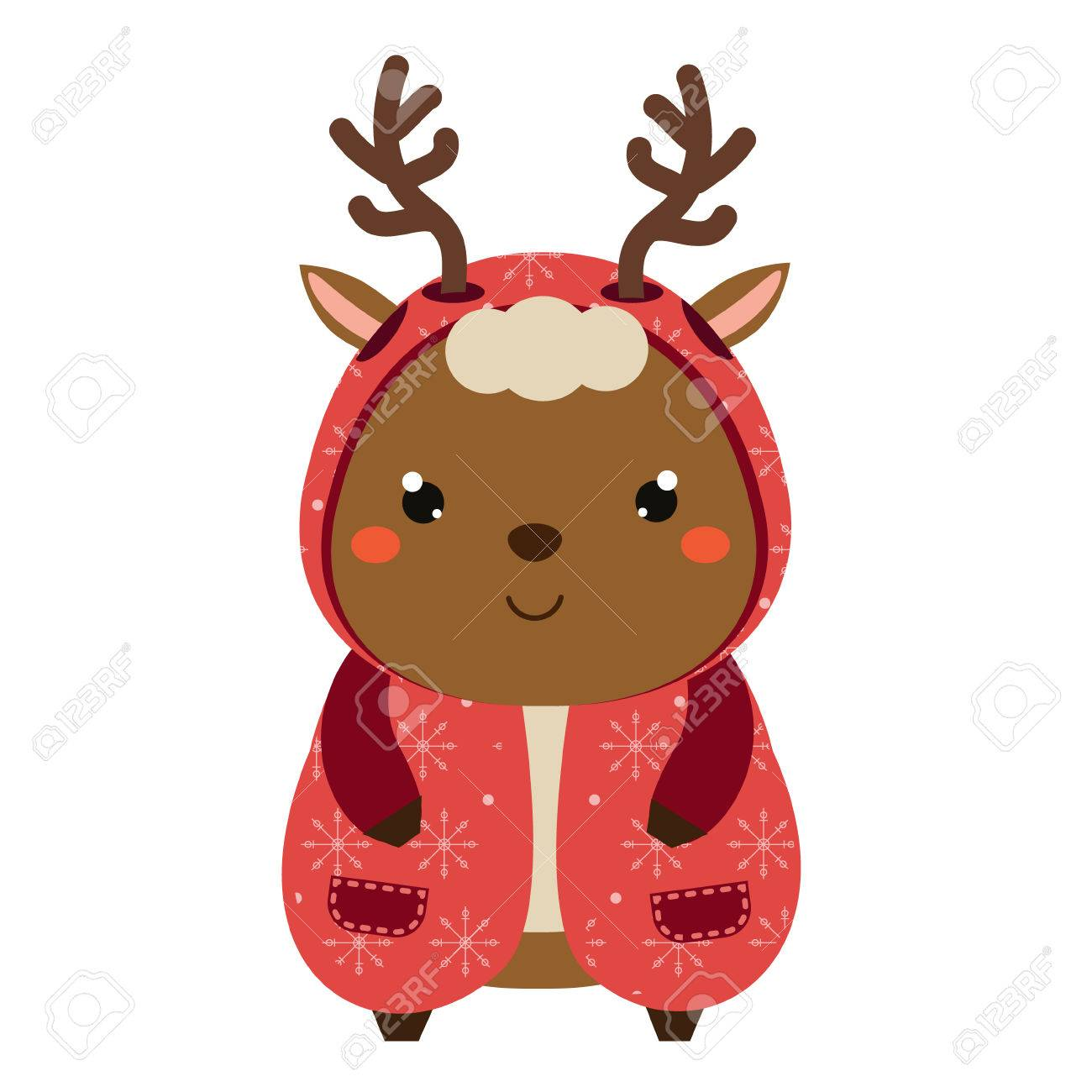 cute reindeer in knitted coat cartoon kawaii animal character rh 123rf com free cute reindeer clipart