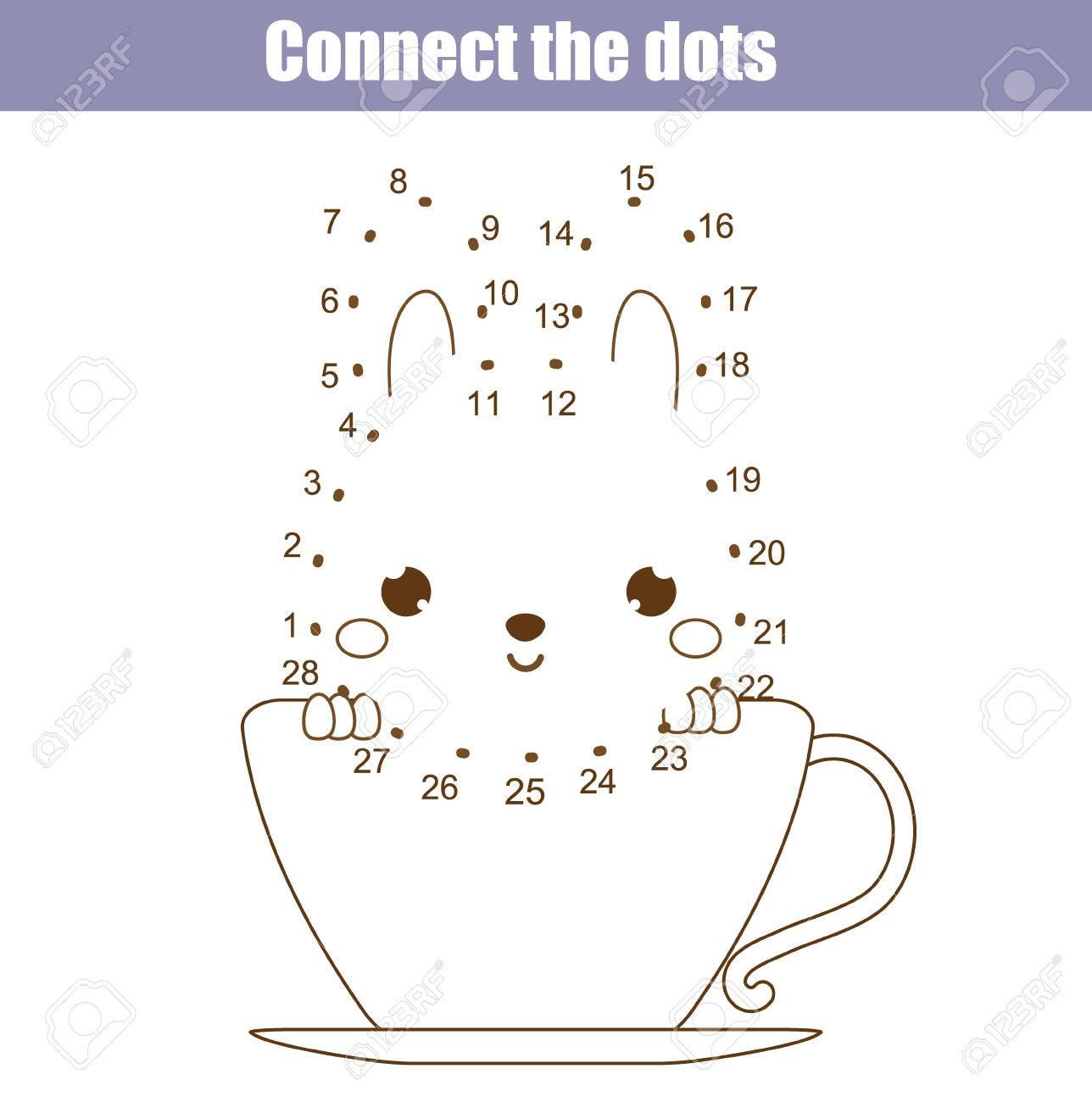 Connect The Dots Children Educational Drawing Game. Dot To Dot By ...