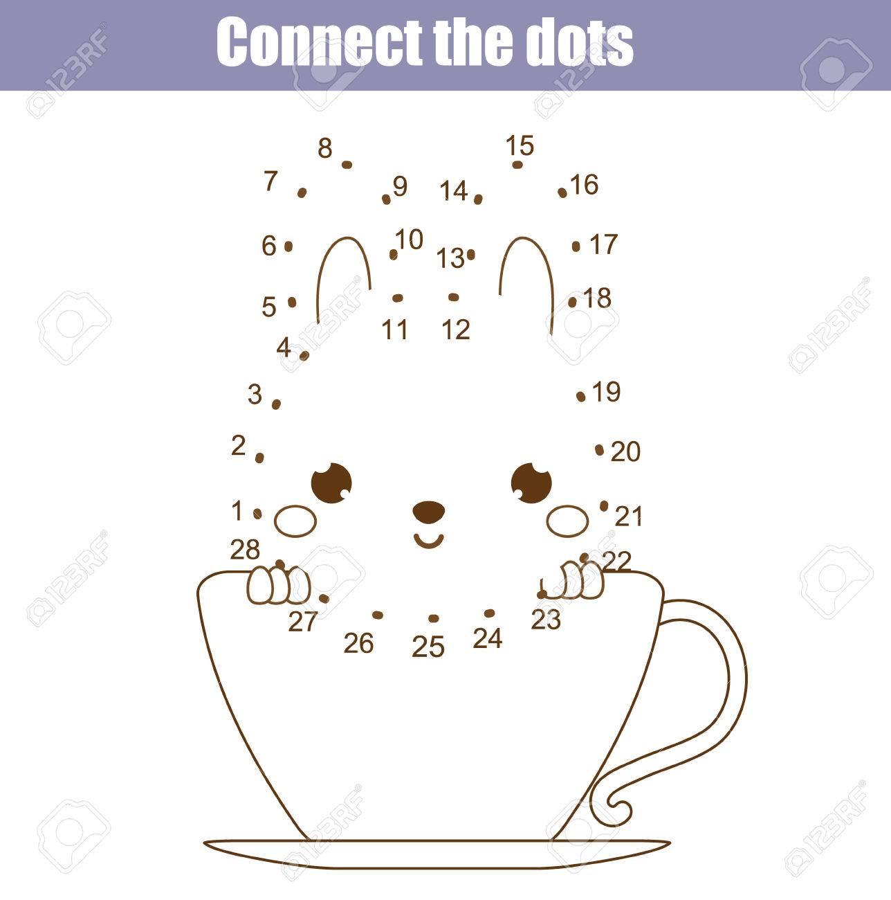 Verbinde Die Punkte Kinder Pädagogisches Zeichenspiel. Punkt, Um ...