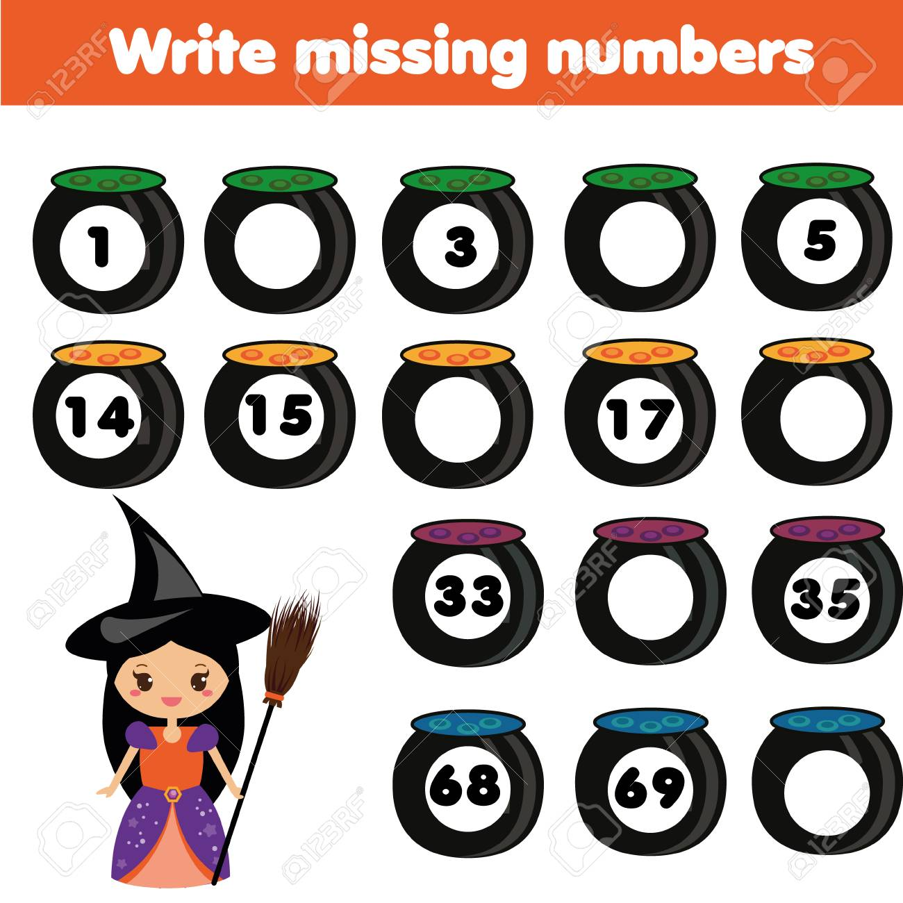 Mathematik Lernspiel Für Kinder. Vervollständige Die Zeile, Schreibe ...