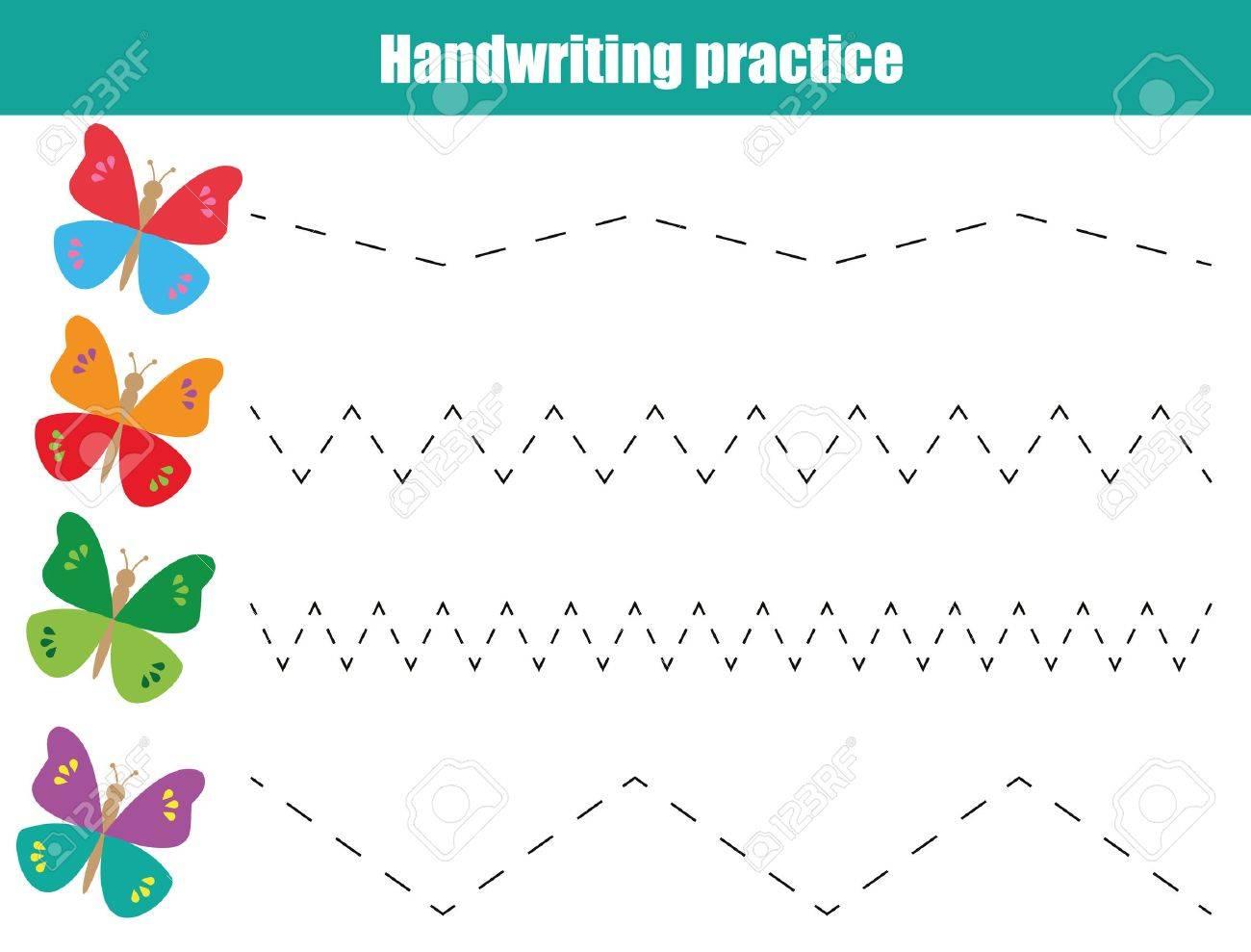 Hoja De Práctica De Escritura A Mano. Juego Educativo Para Niños ...