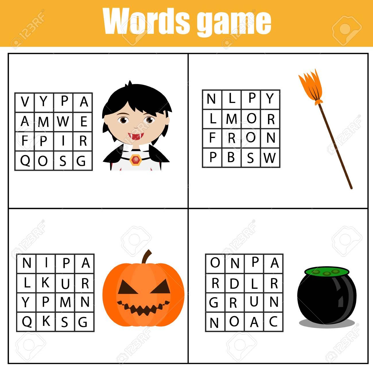 Pädagogisches Kinderspiel. Wortsuchrätsel-Kinderaktivität. Vokabeln ...