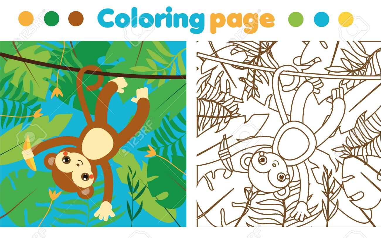Coloring Page For Children. Monkey In Jungle. Drawing Kids Activity ...