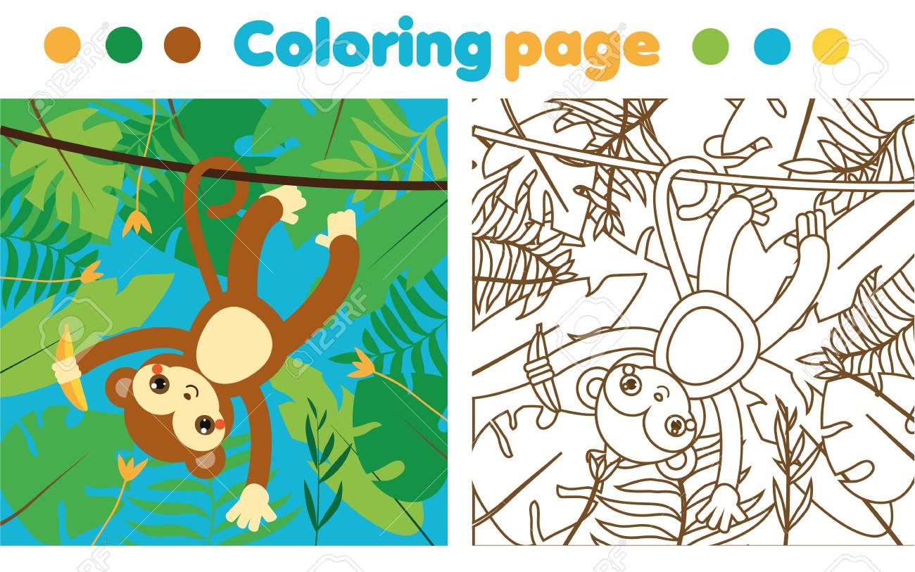 Página Para Colorear Para Niños. Mono En La Jungla Dibujando La ...
