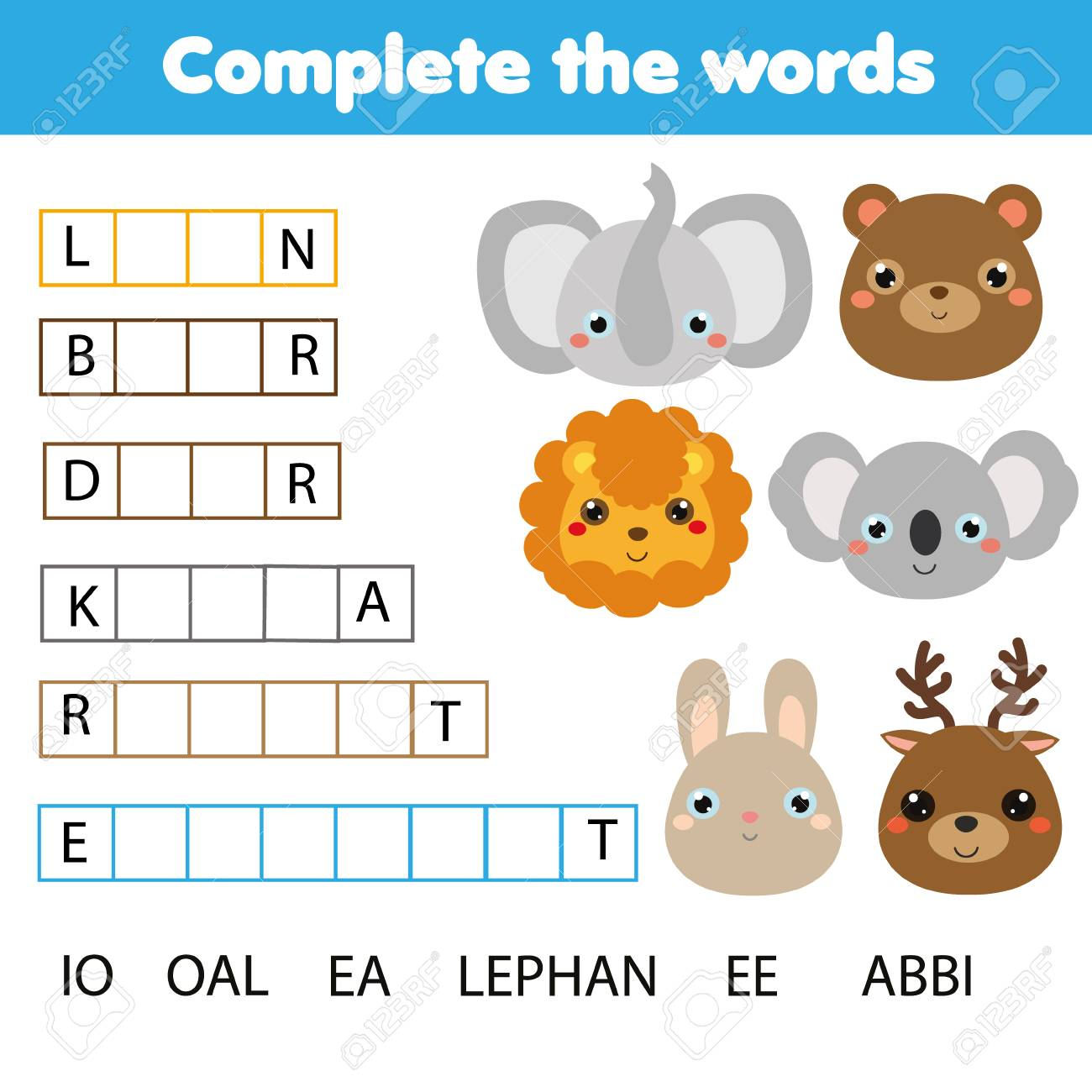 Educational children game. Complete the words kids activity...