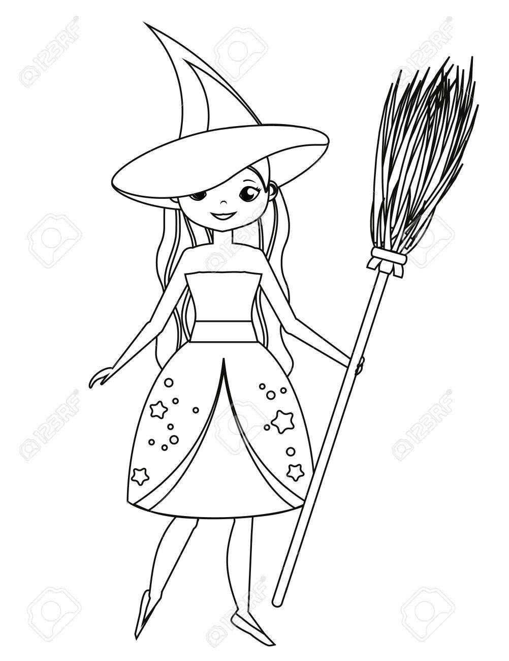 Malvorlage Für Kinder Nette Hexe Die Besen Hält Mädchen Im