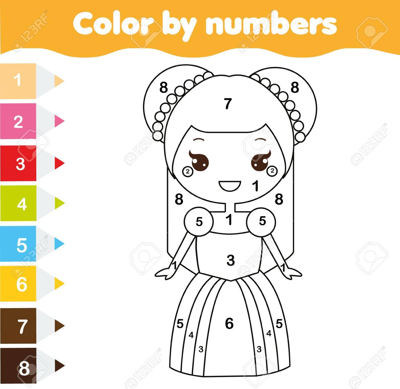 Color Por Números Juego De Niños Educativos Página Para Colorear Para Niños Linda Princesa Actividad De Dibujo Imprimible