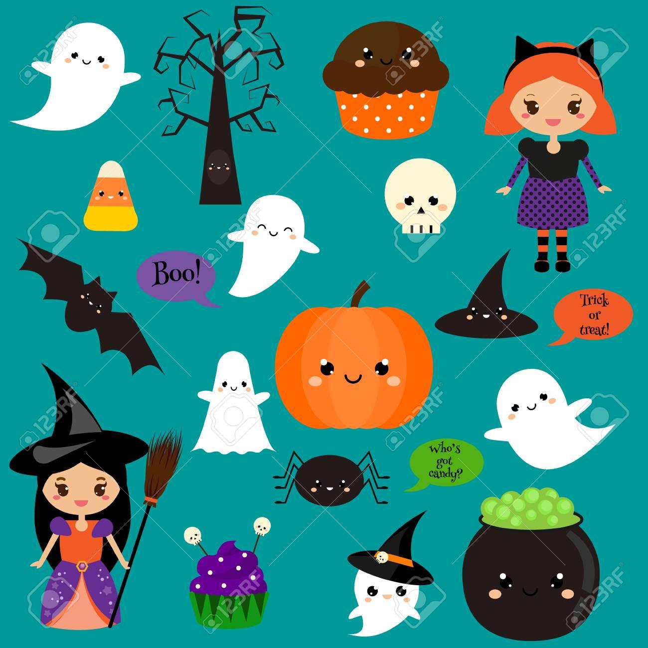 Autocollants D Halloween Patches Badges Citrouille Mignon Fantômes Enfants Et Autres Symboles De Vacances Dans Le Style Kawaii éléments De
