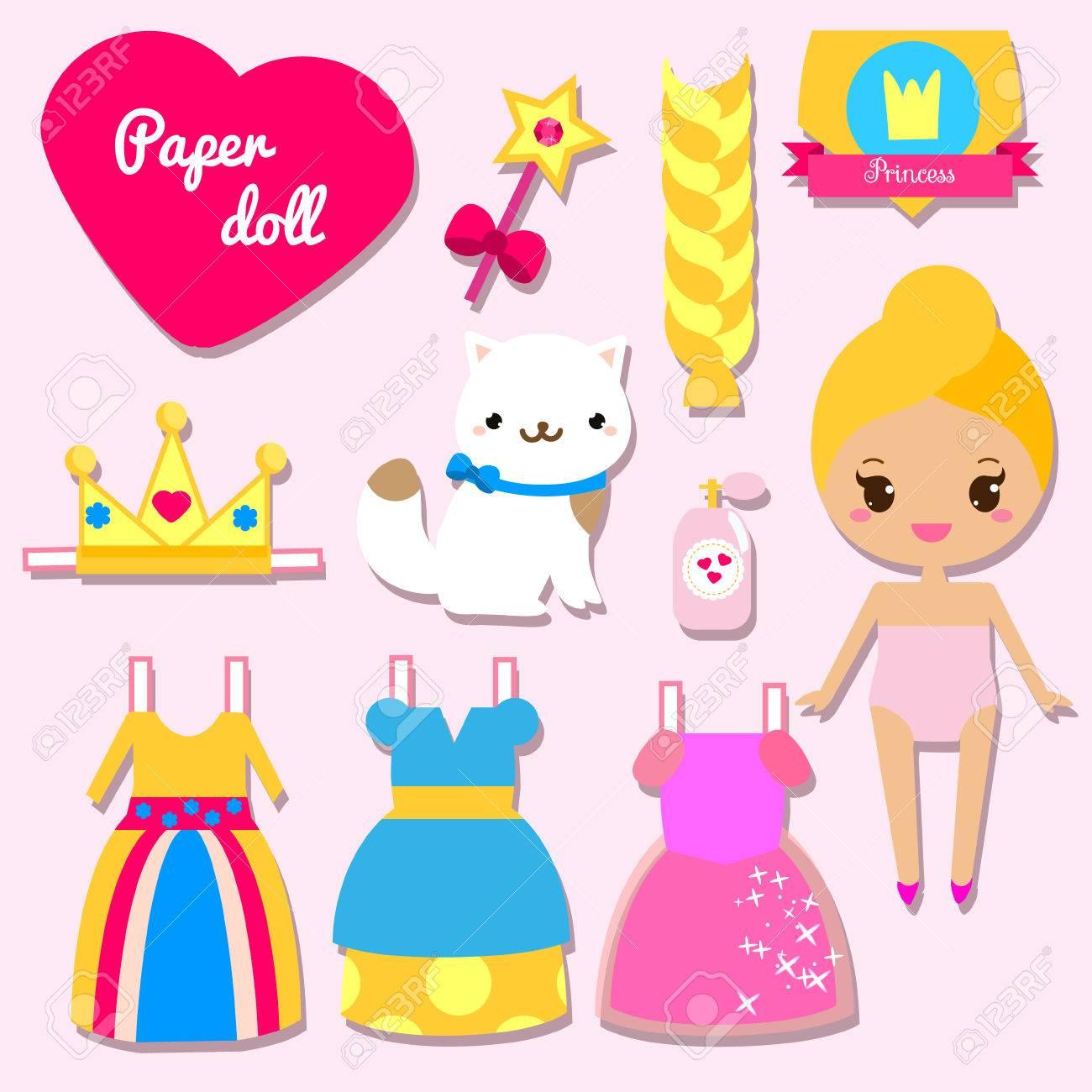 Nette Prinzessin Papierpuppe Für Kinder Mädchen. Dress Up Das ...