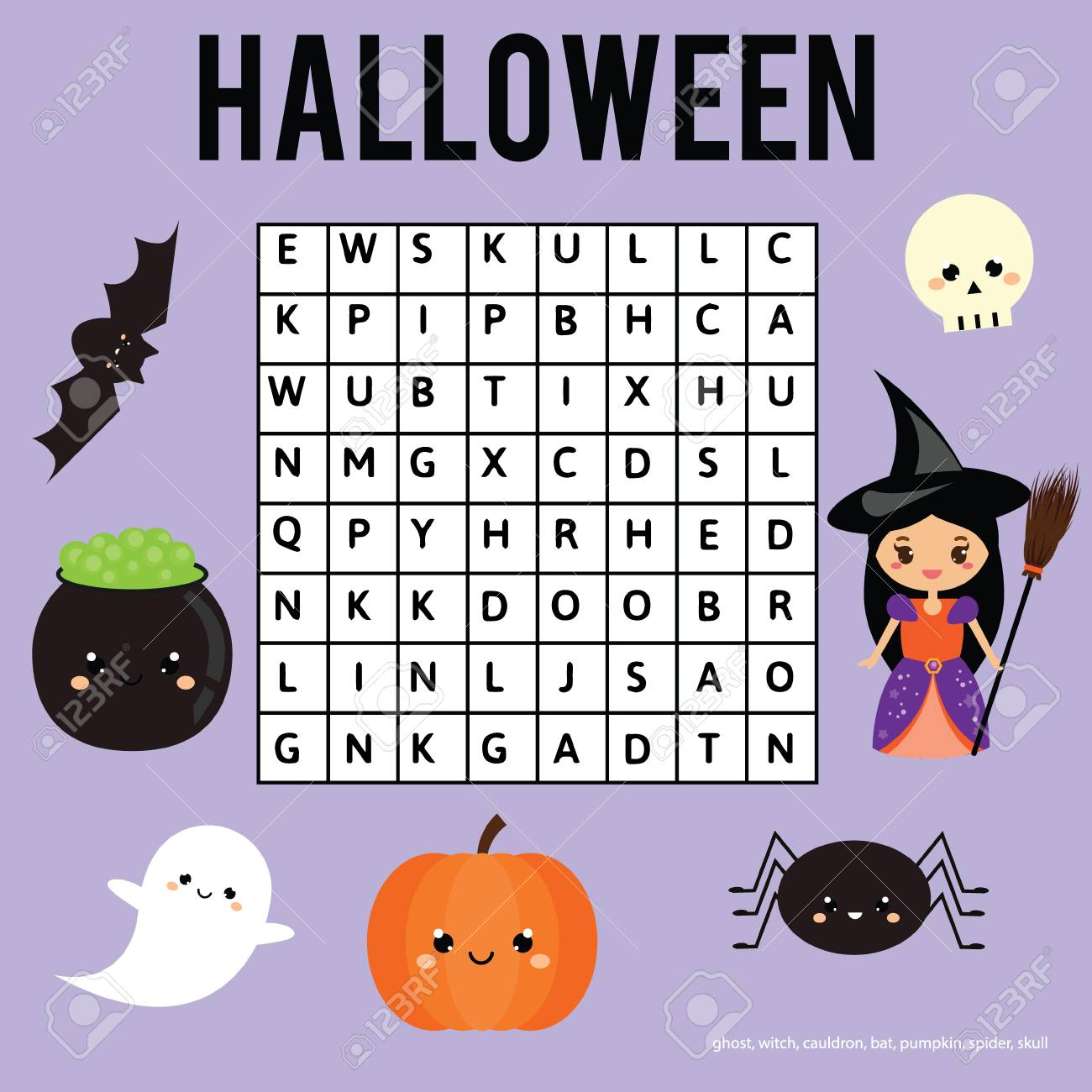Word Search Puzzle Kids Activity Sheet. Halloween Theme. Find ...
