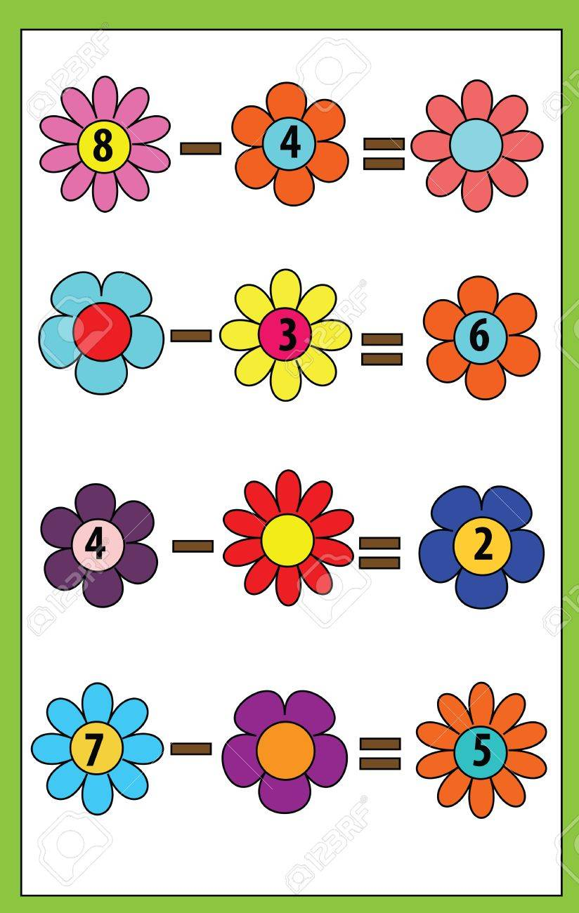Math Educational Game For Children. Counting Equations. Subtraction ...