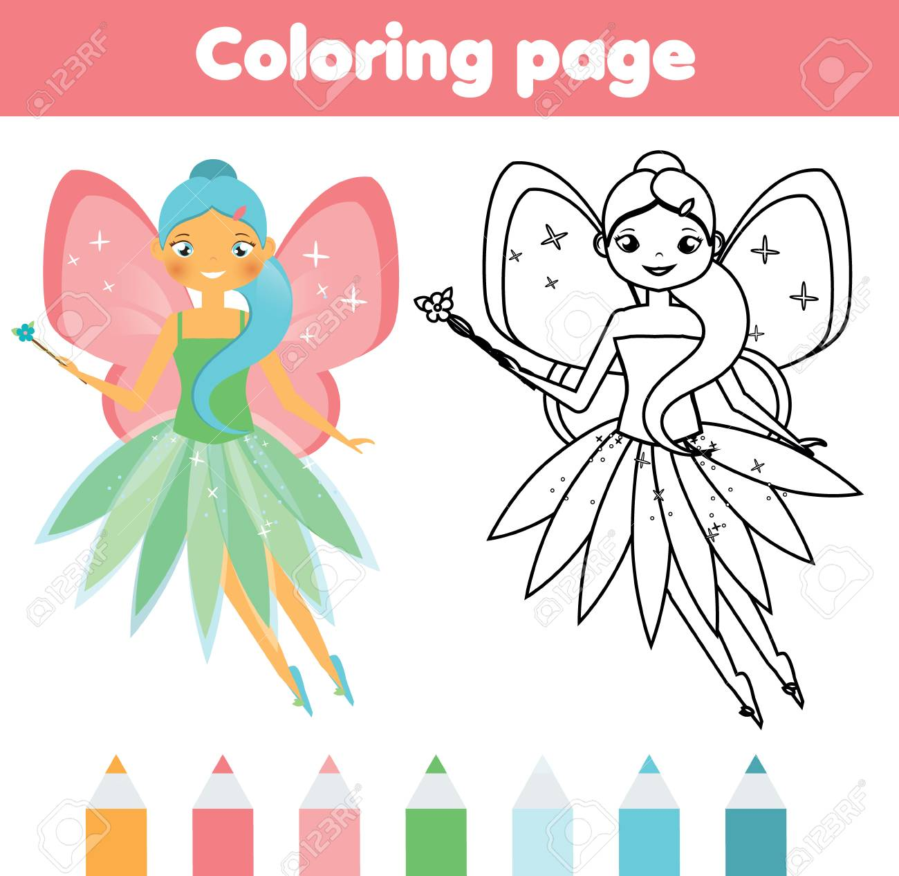 Coloring Page With Cute Flying Fairy Color The Picture Educational Royalty Free Cliparts Vectors And Stock Illustration Image 88074748