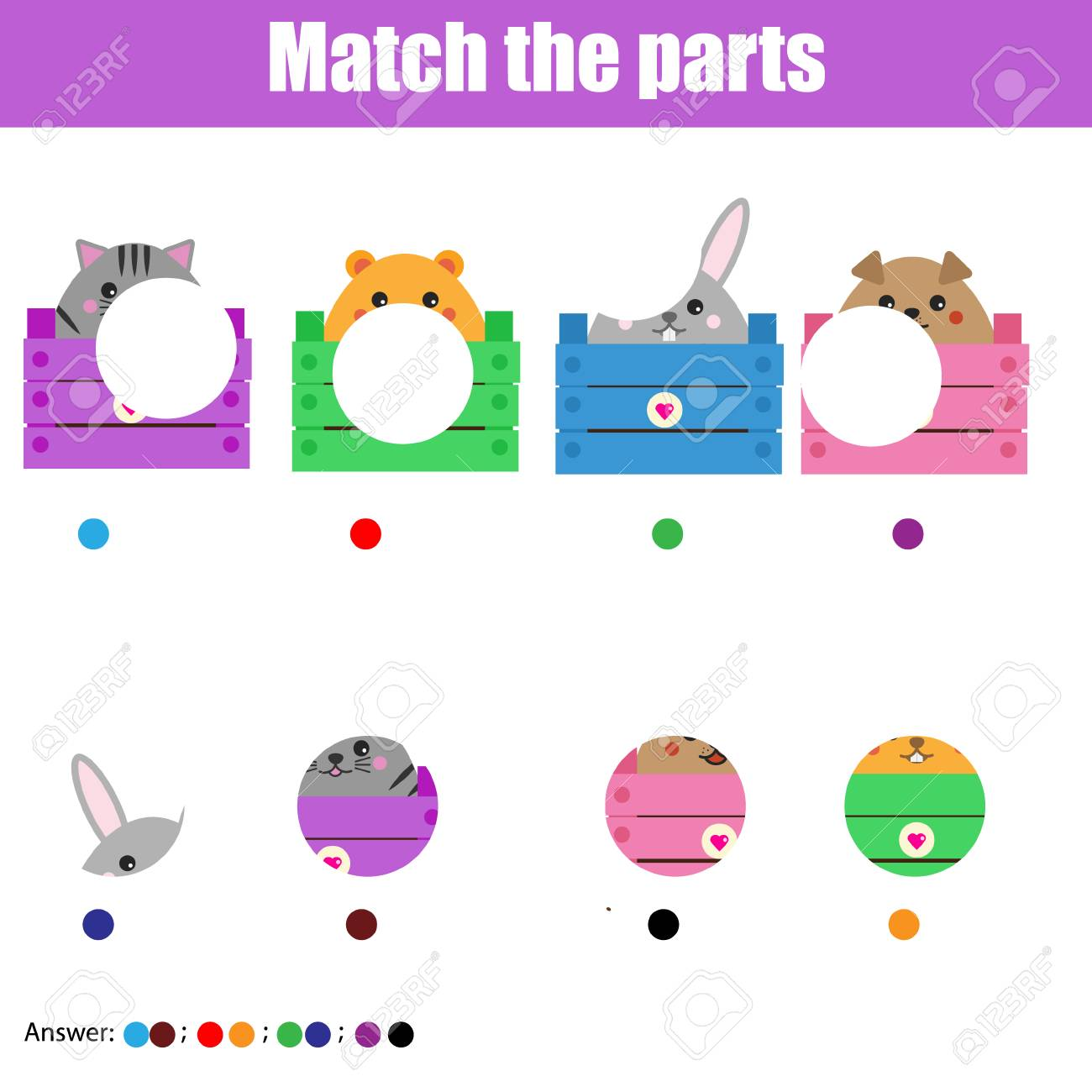 Matching children educational game. Match animals parts. Activity for pre shool years kids and toddlers - 88074753