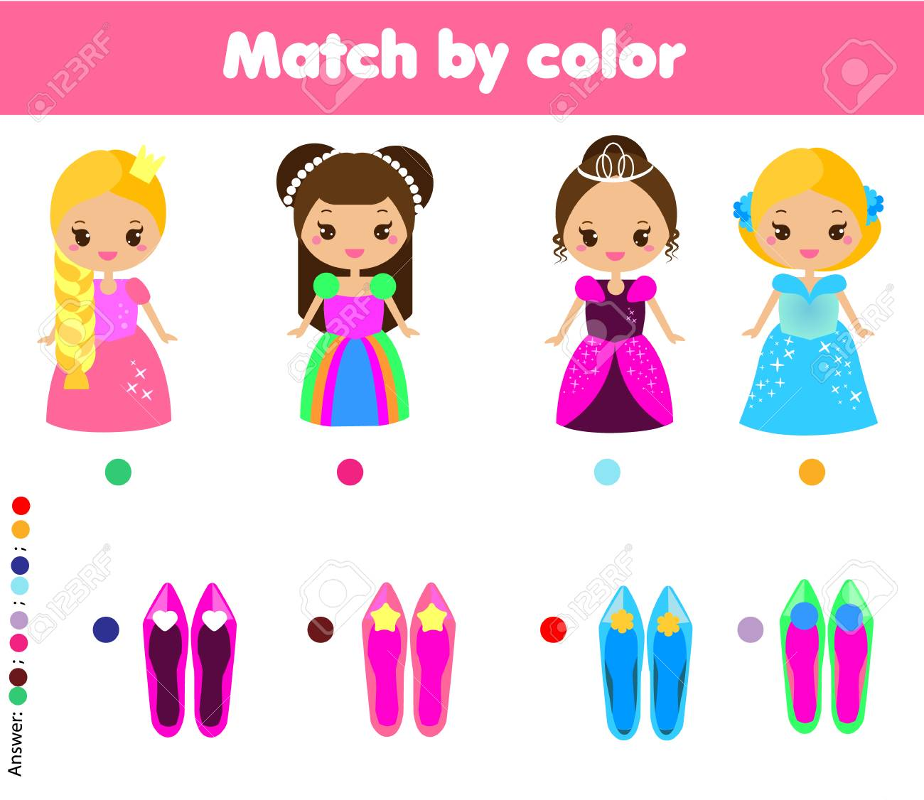 Matching children educational game. Match by color. Activity for pre shool years kids and toddlers. help princess find shoes - 88074812