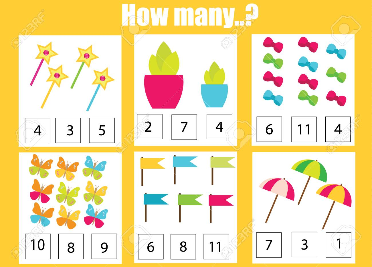 Counting educational children game, math kids activity sheet...