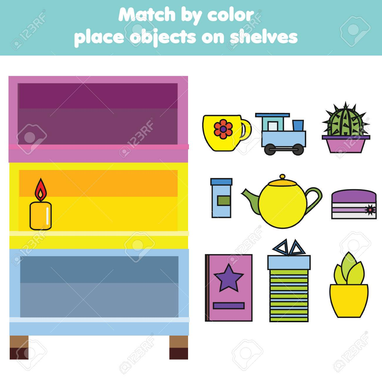 Matching children educational game. Match objects by color. Activity for pre shool years kids and toddlers - 88074815