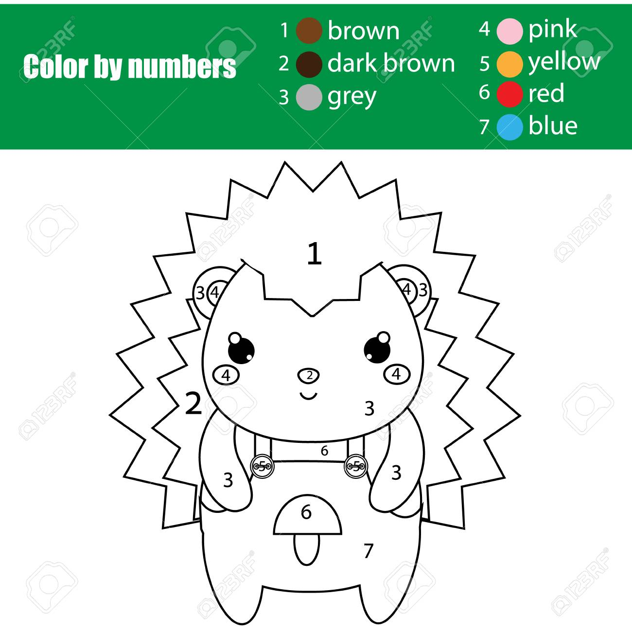 Coloring page with cute hedgehog color by numbers printable activity