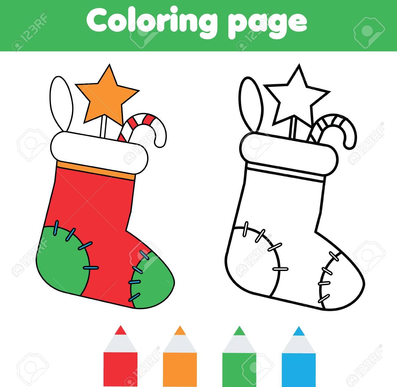 Página Para Colorear Con Calcetín De Navidad Con Regalos. Colorea La ...