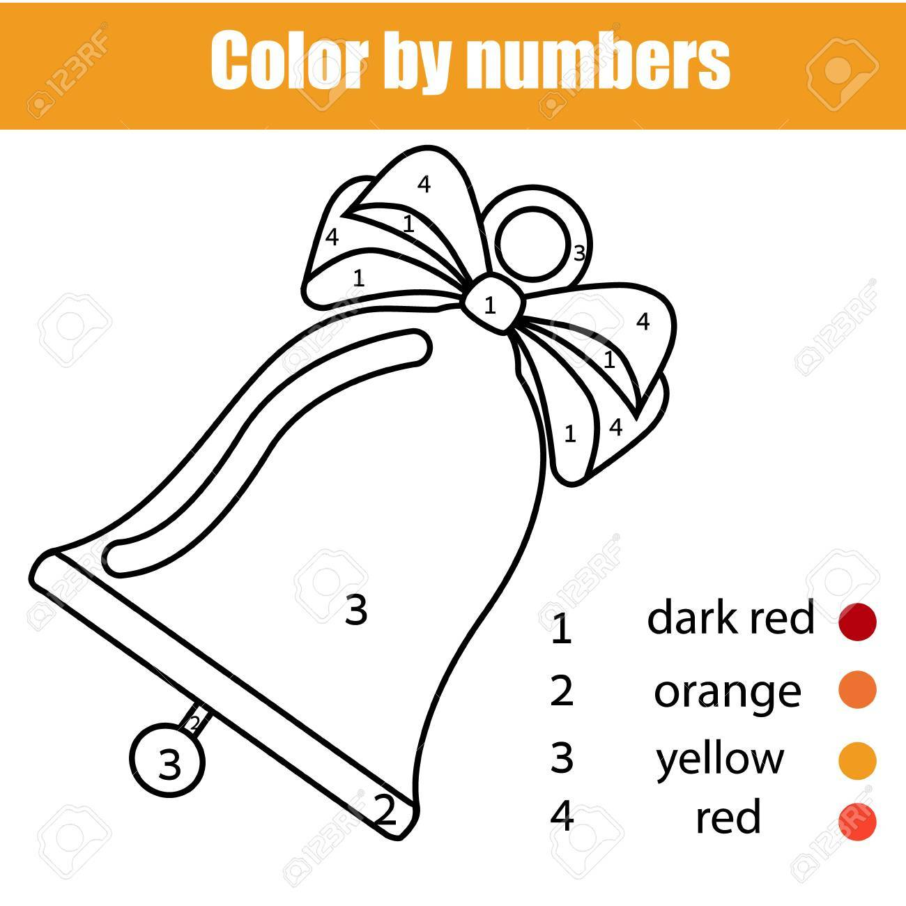 Coloring Page With Christmas Bell Color By Numbers Printable Activity