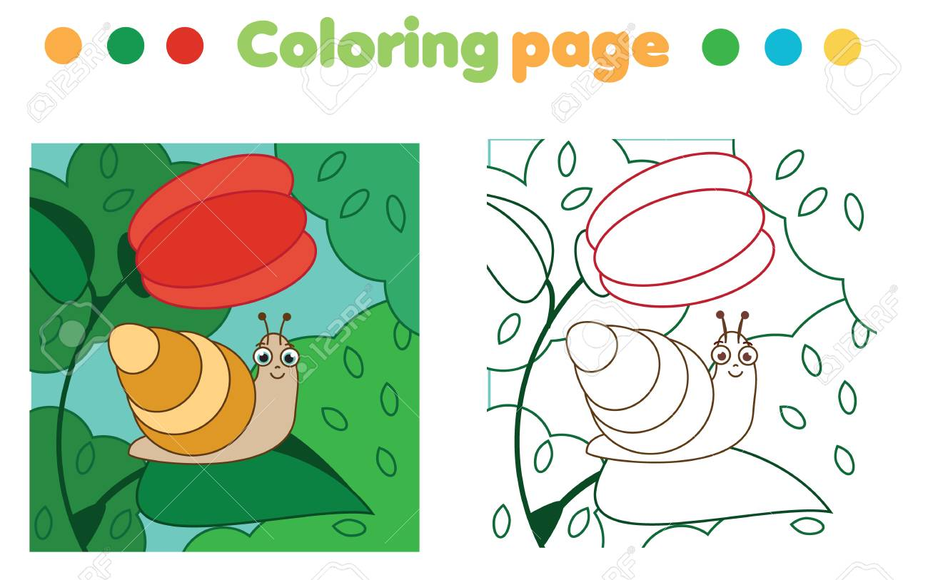Coloring Page With Snail On Flower. Color The Picture. Educational ...