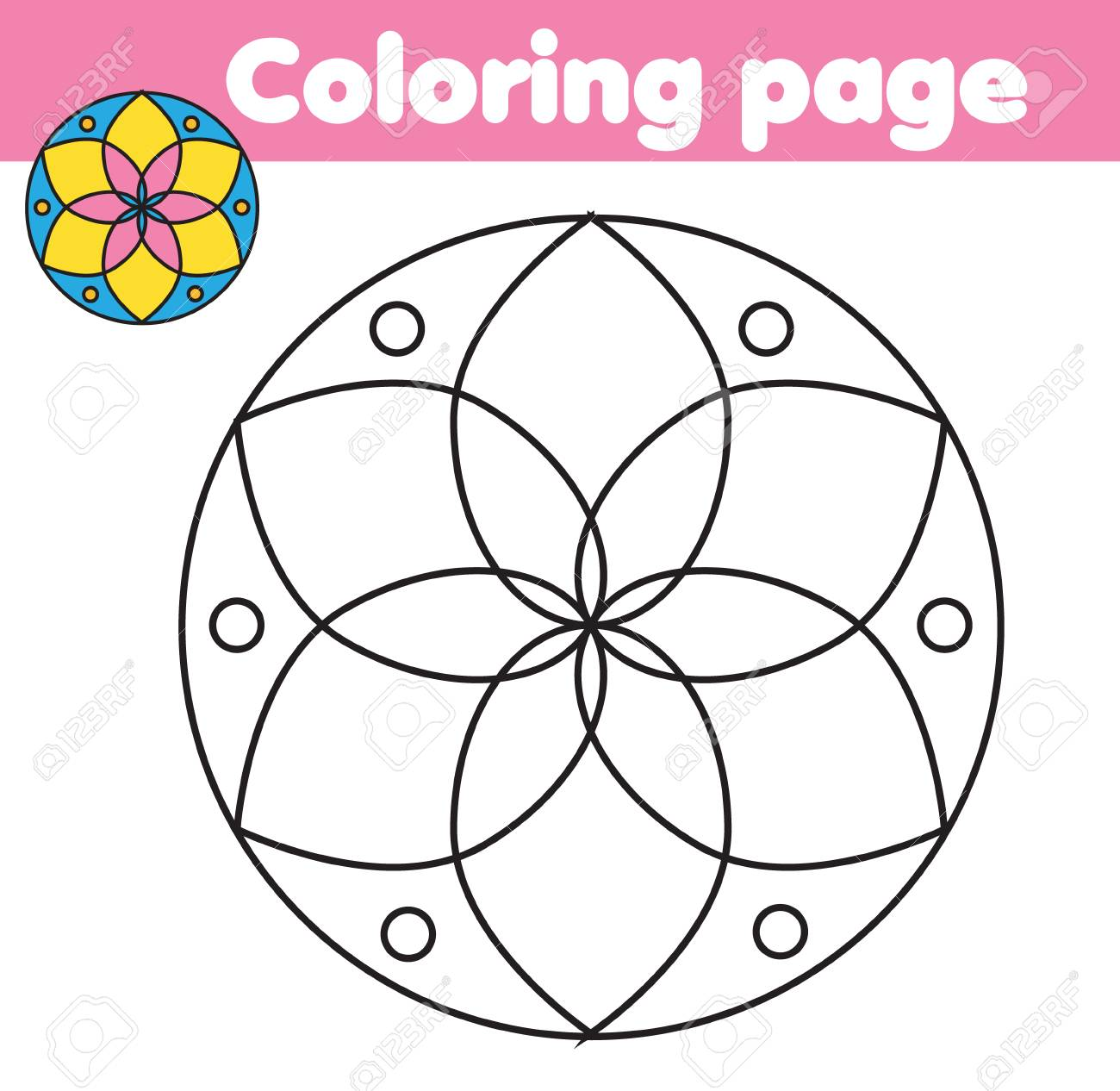 Coloring Page With Abstract Flower Shape Color The Picture Educational Children Game Drawing