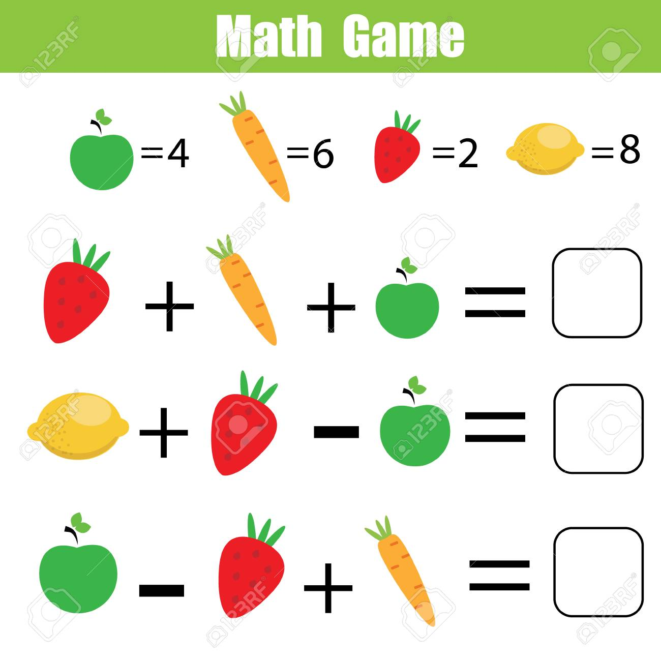 Mathematics Educational Game For Children. Mathematical Counting ...