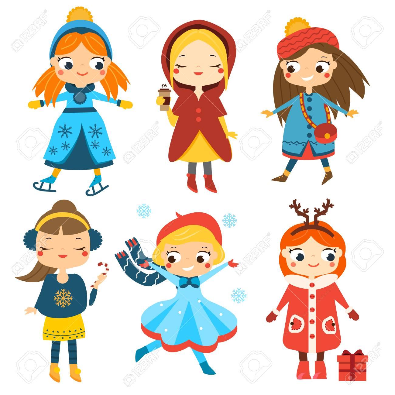 5eb80dbb8968 Cute Winter Girls Set. Kids Winter Activity. Vector Collection ...