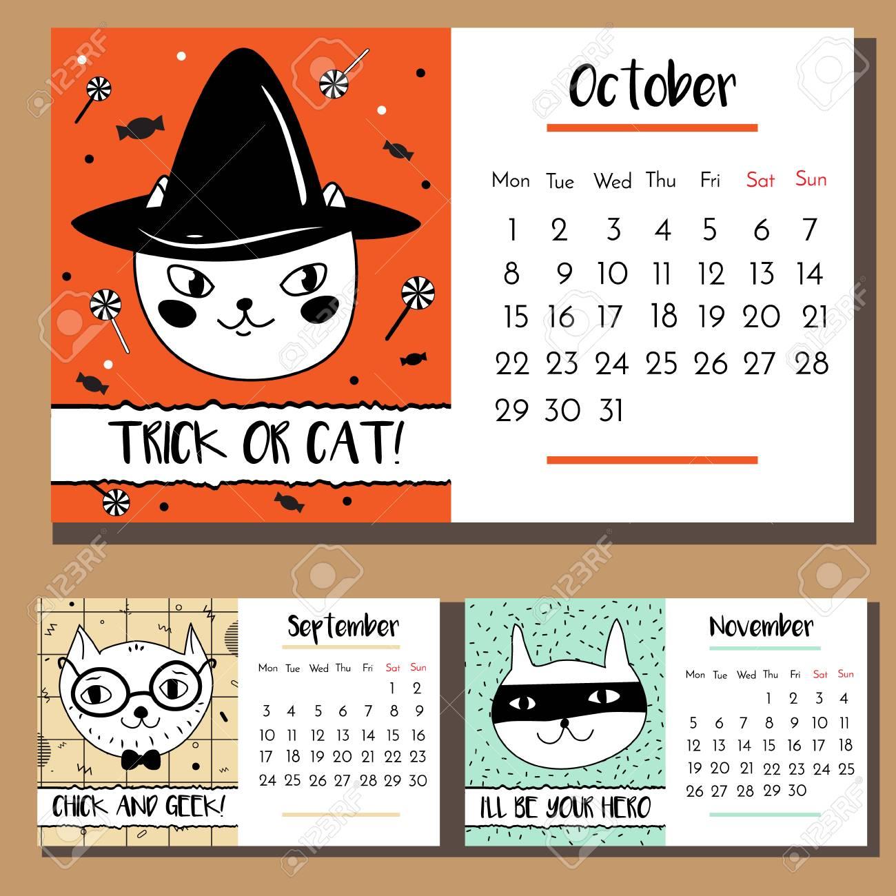 Doodle Cat Calendar Design Template 2018 Calendar With Funny