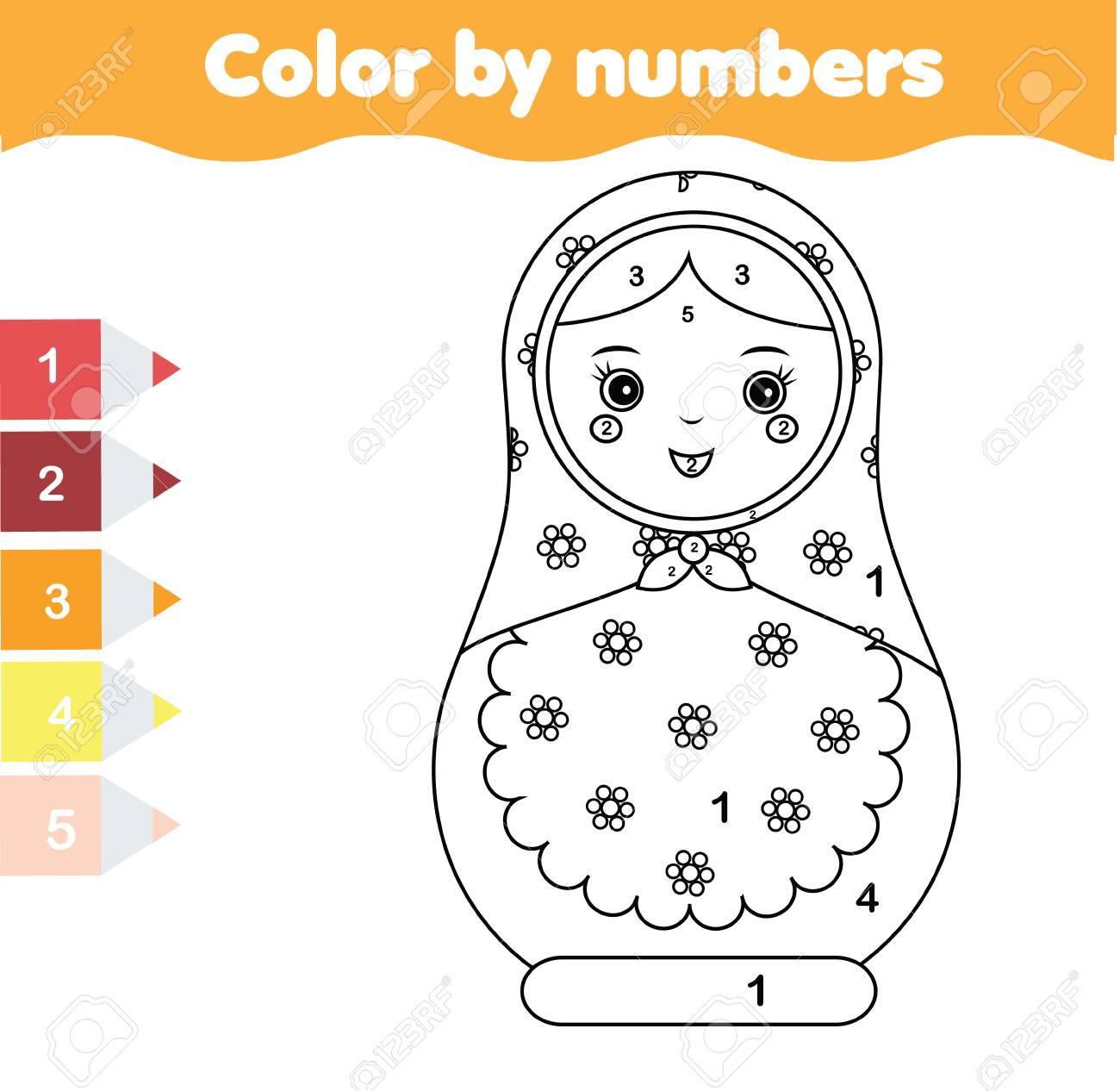 Juego Educativo Para Niños Dibujo Para Colorear Con La Muñeca Matreshka Color Por Números Actividad Imprimible Hoja De Trabajo Para Niños Pequeños