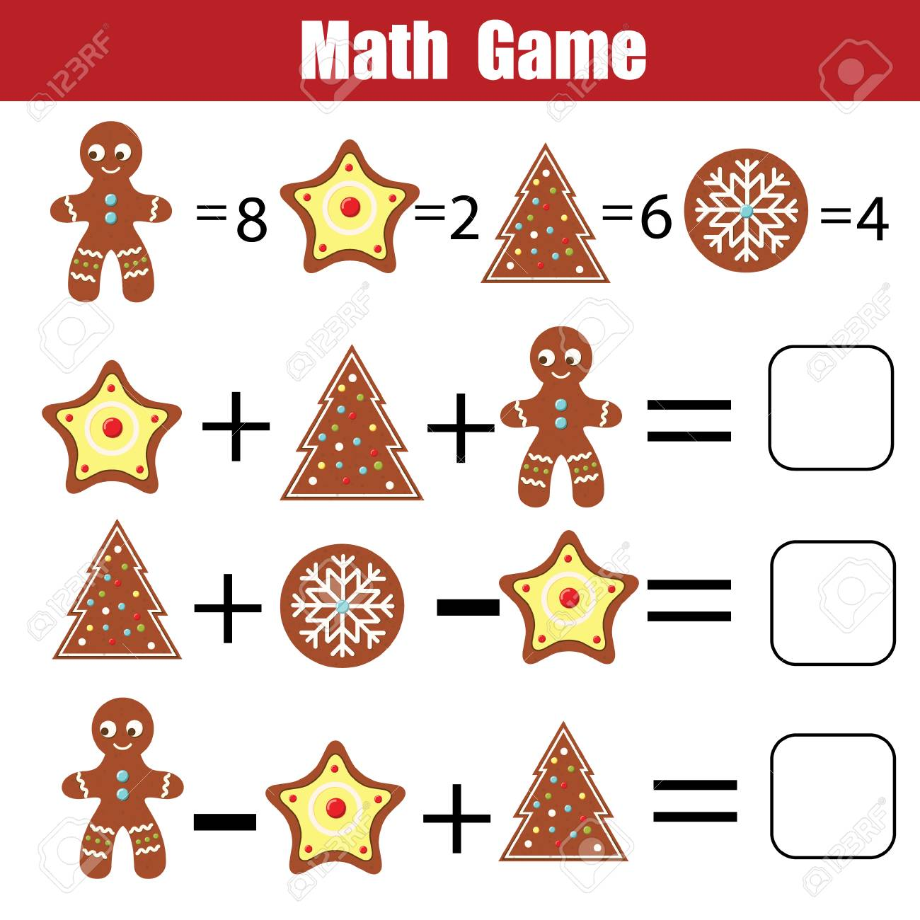 Juego Educativo Matemático Para Niños. Hoja De Cálculo De Ecuaciones ...