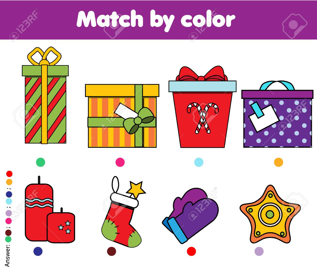 Matching children educational game. Match by color kids activity. New Year, Christmas gifts theme. - 90656793